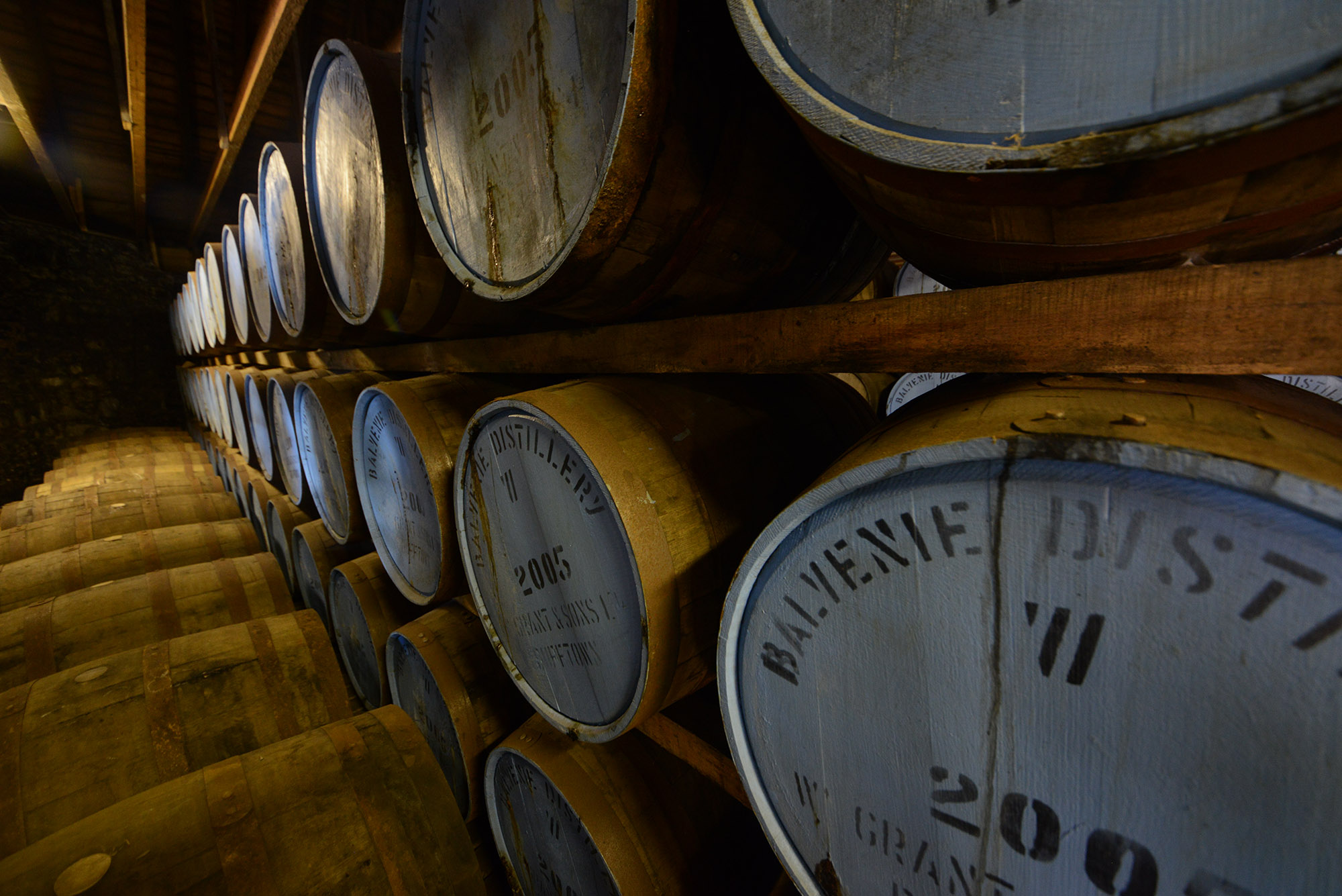 Inside one of the warehouses at Balvenie
