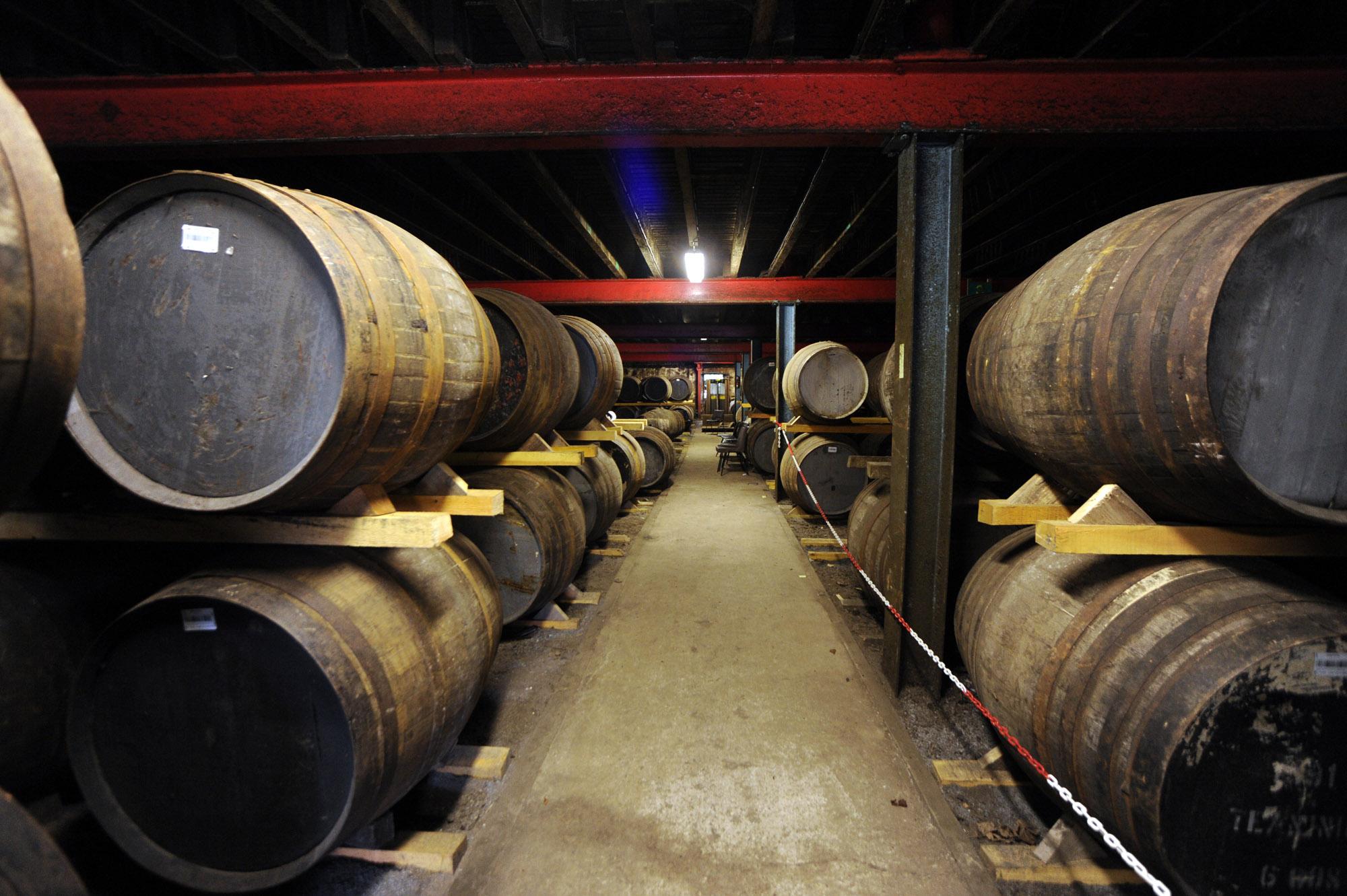 Casks at Lagavulin distillery
