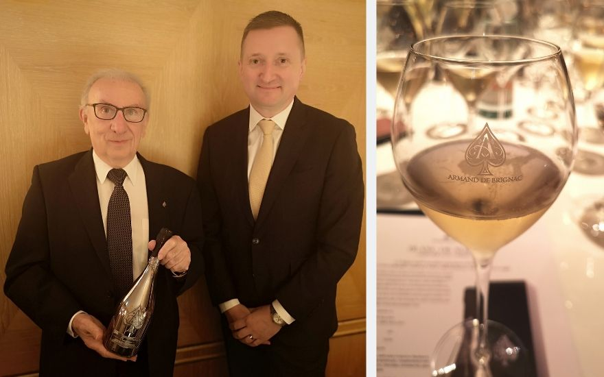 Winemaker Jean-Jacques Cattier with Armand de Brignac CEO Sebastien Besson