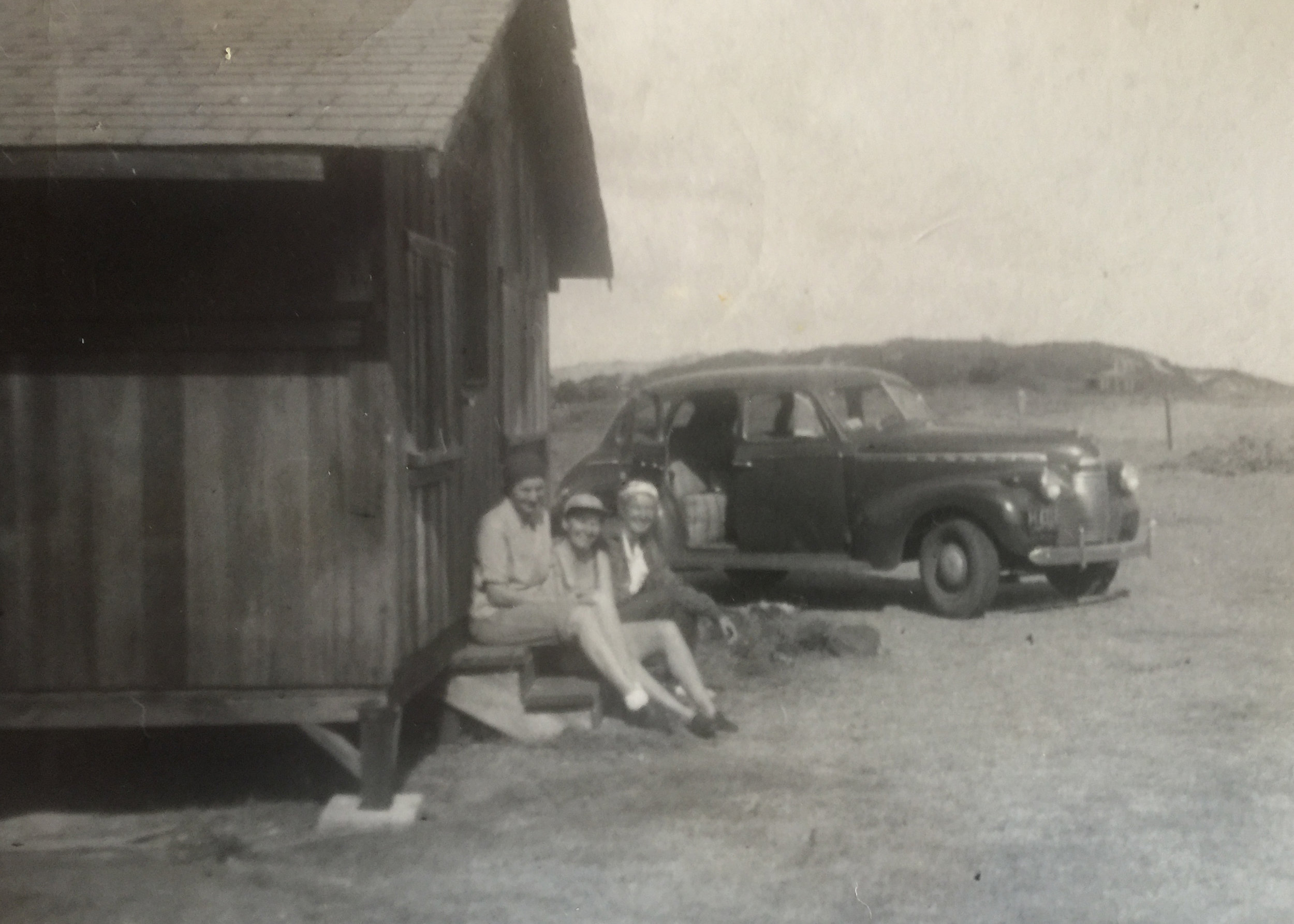 Taking a break in front of the Gillin House, circa 1950