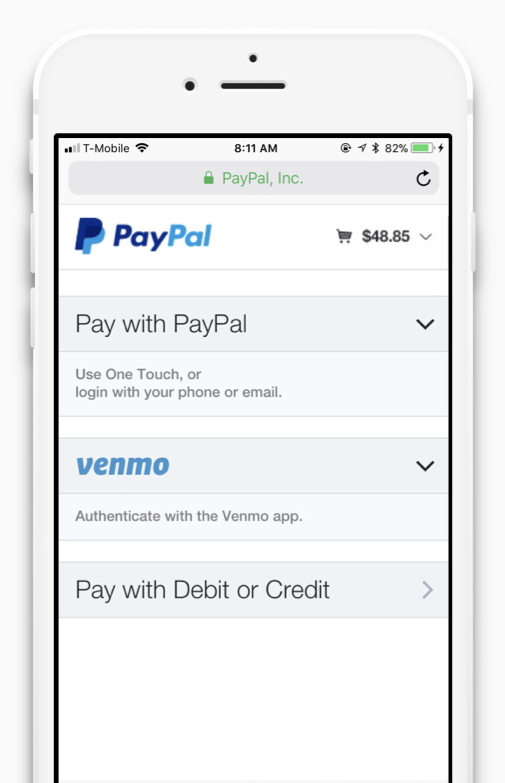 This design performed best - Most users discovered the Venmo payment optionThey showed less confusion than with other variantsThey understood how to go back and select another option if they didn't wan to pay with Venmo