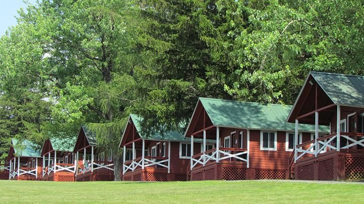 A typical row of cabins. There are about 80 cabins, and the camp holds up to 800 people.