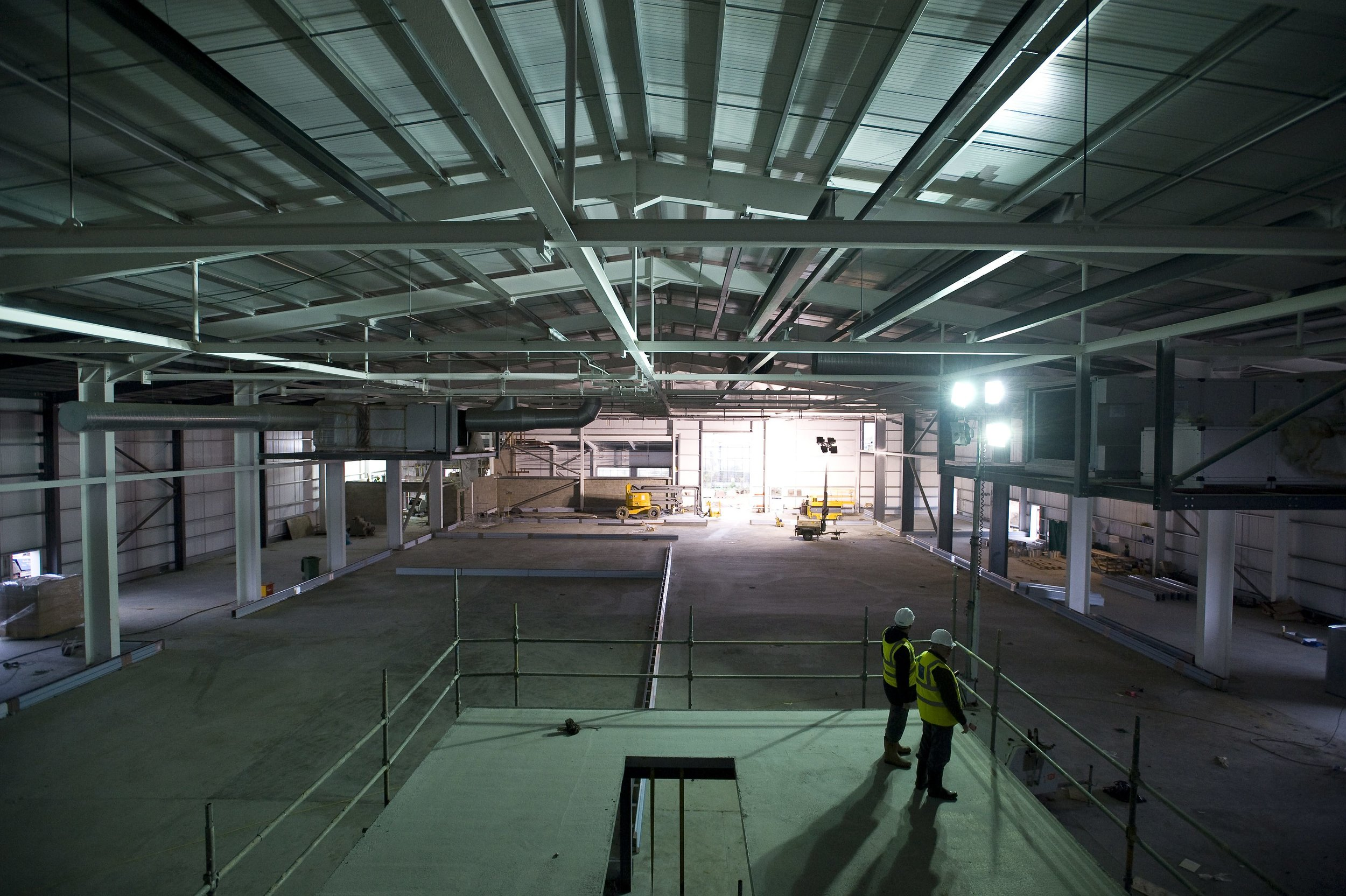 Internal view of production hall during construction
