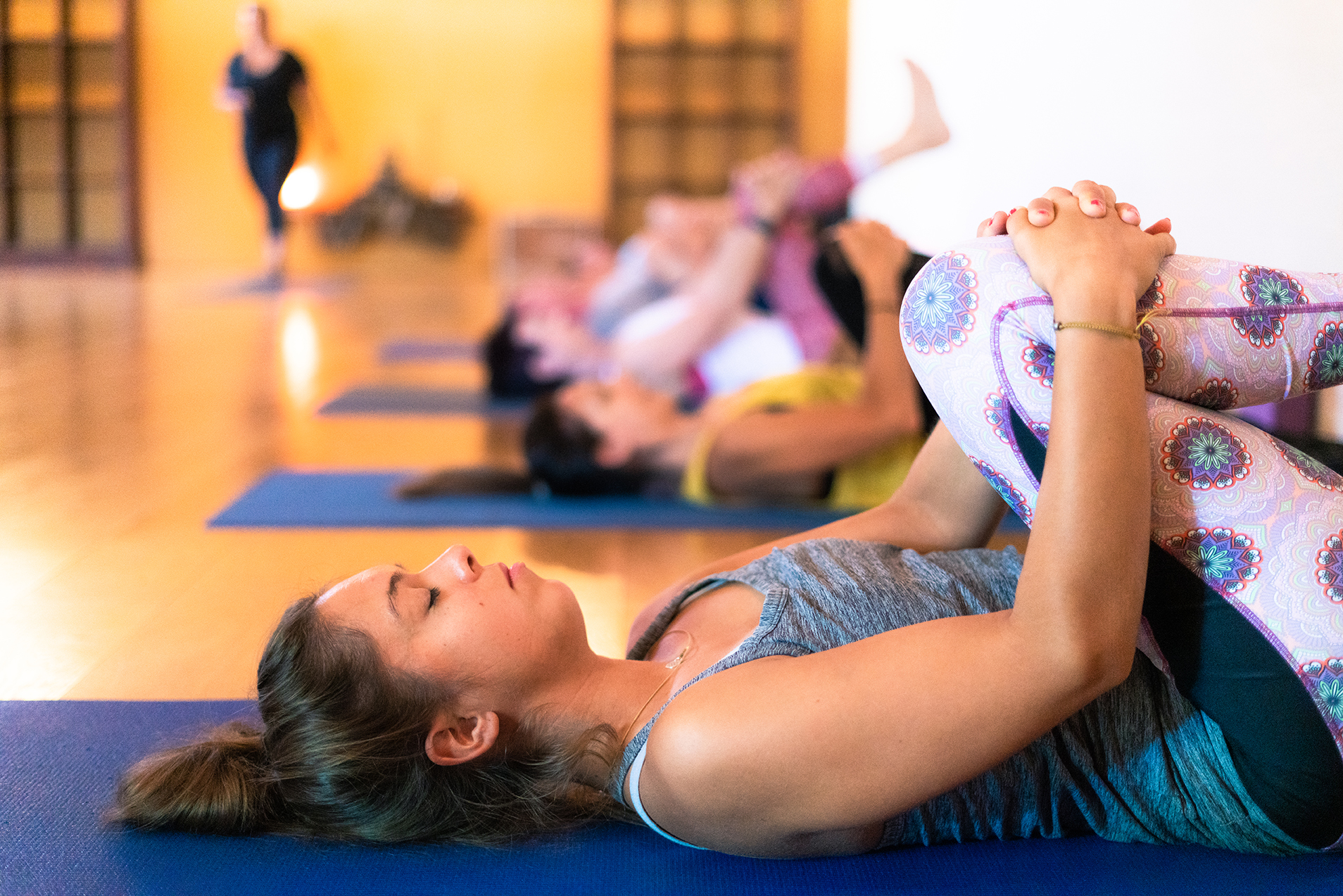 Beginner Basics - Learn the basics ~ limited to under 20 students in a class for safe, guided attentive teaching and instruction.: Yoga breathing: Yoga postural alignment: Activate strength to support flexibility: Develop core strength: Release stress and how to relax