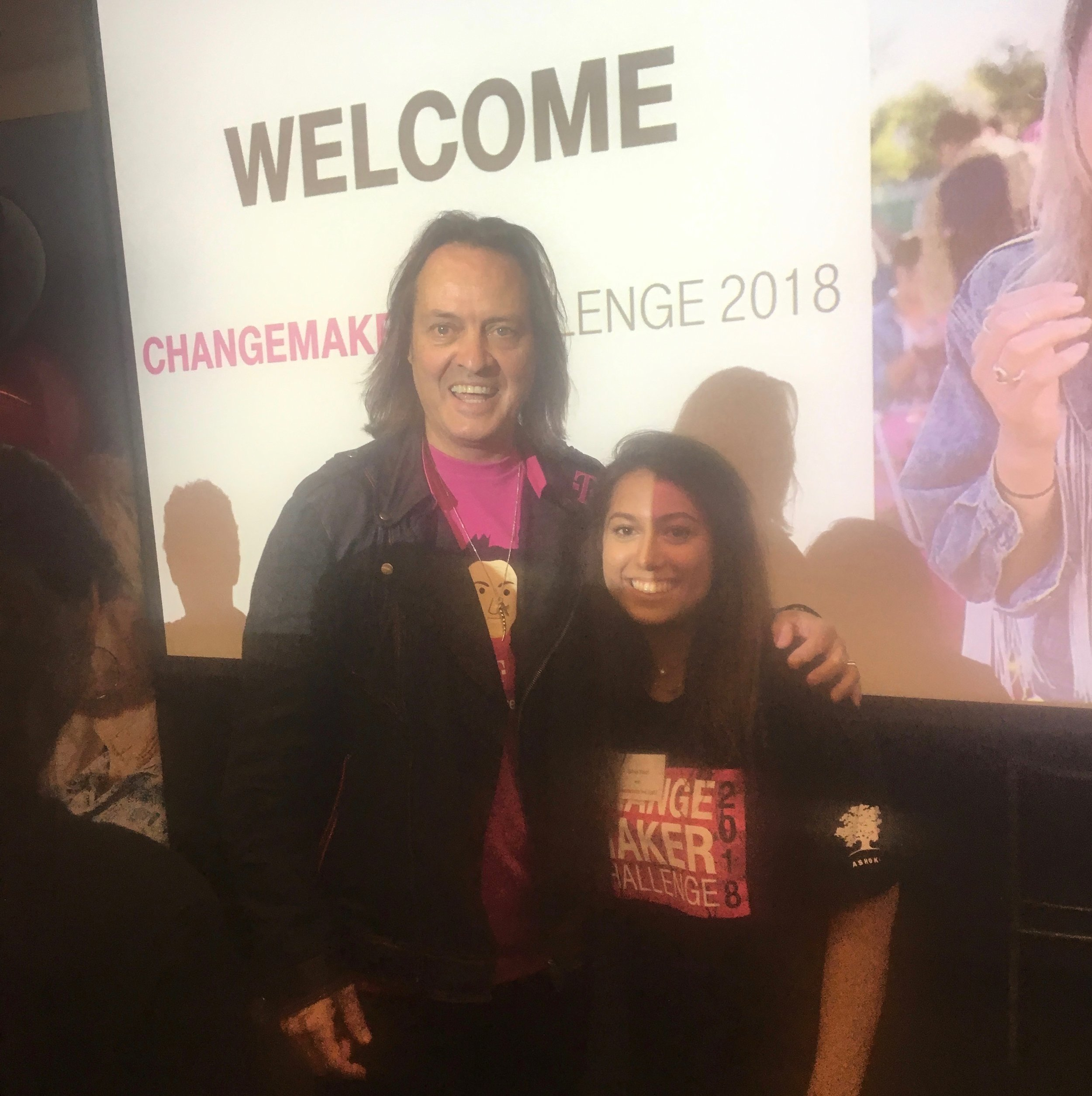 The Founder of RISE, Selma Nouri, pictured to the right of John Legere, the Chief Executive Officer of T-Mobile, at the T-Mobile Changemakers Conference in Seattle, Washington.