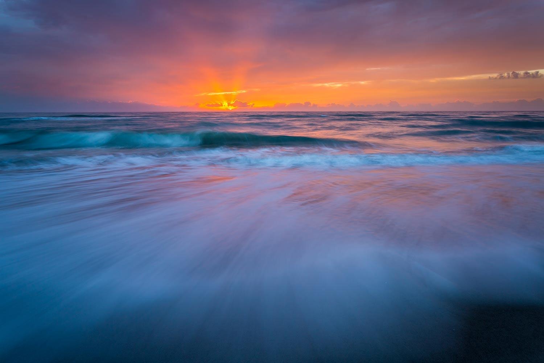 Crashing waves on the beach at dawn, Juan Ponce de Leon Landing, FL.