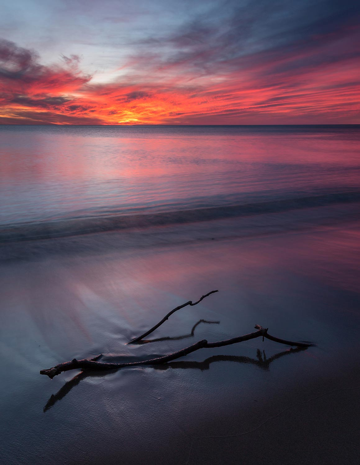Sunset from the shore of Lake Michigan, Rosy Mound Park, Grand Haven, MI.