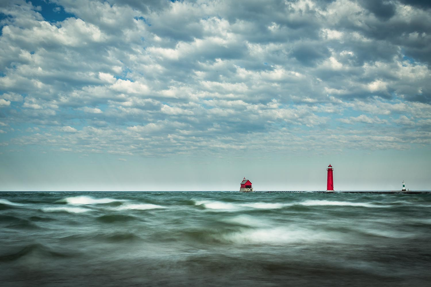 Grand Haven lighthouse on a very windy morning.