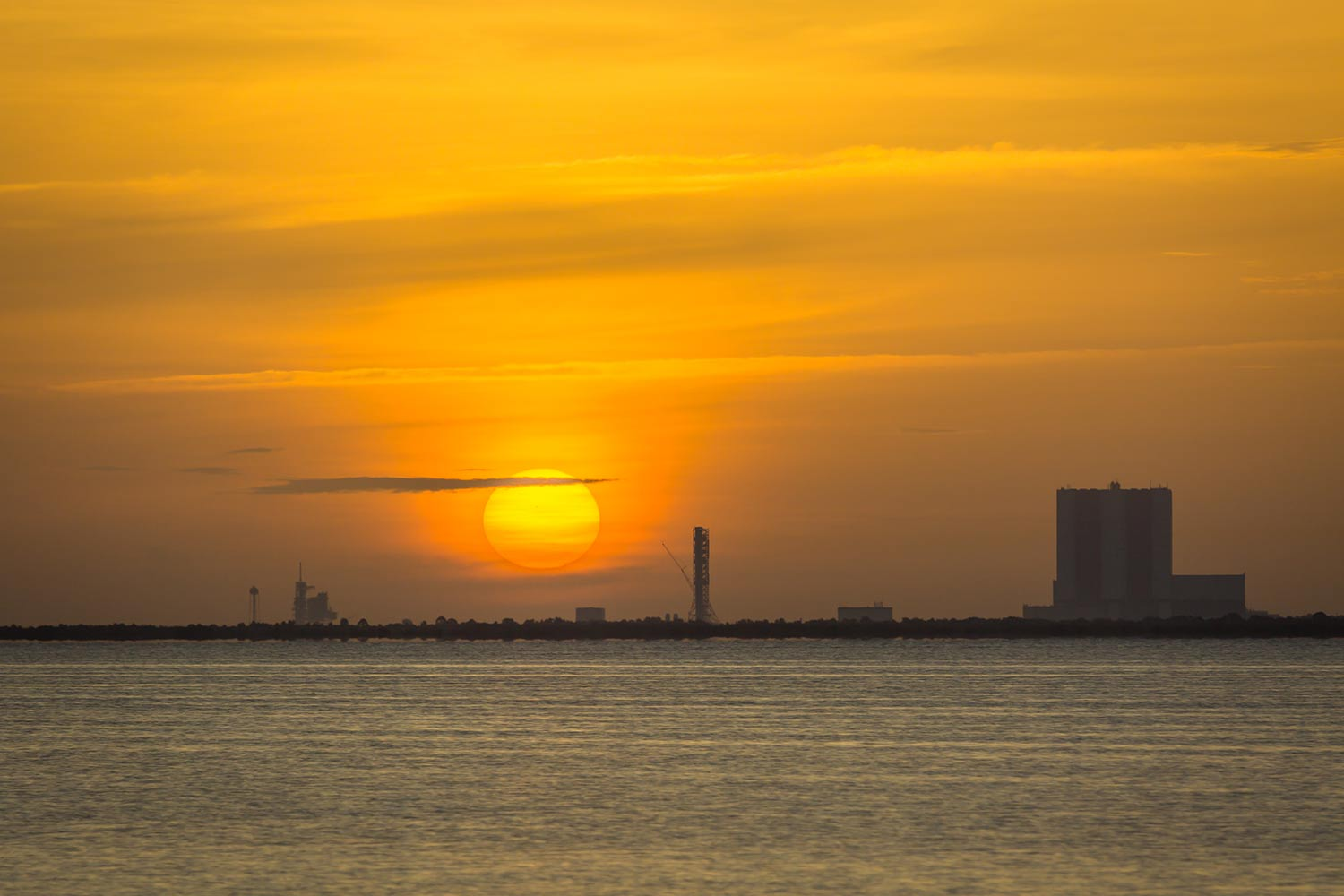 Sunrise over the Kennedy Space Center.