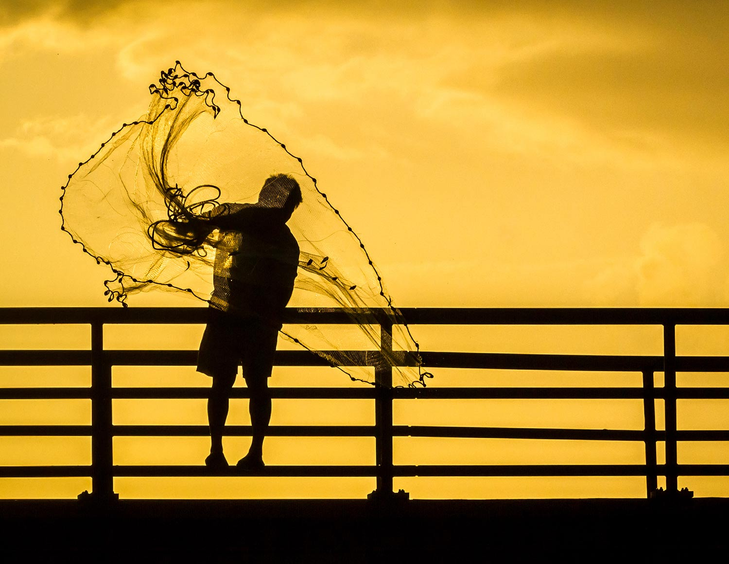 A fisherman casting his net from the bridge over Sebastian Inlet.