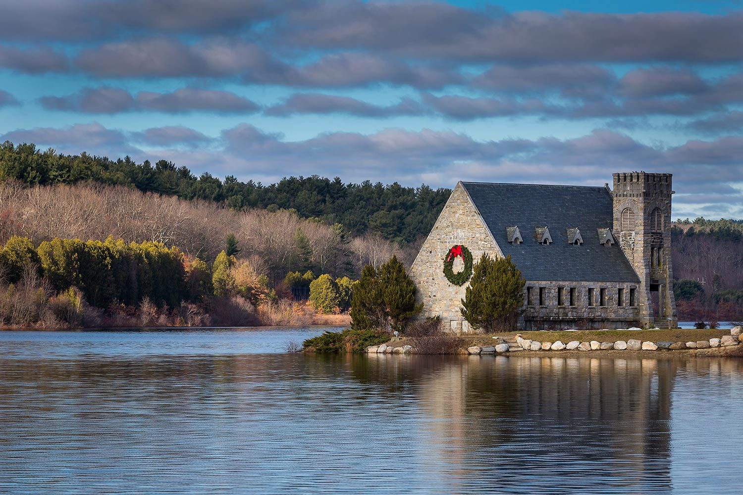 Old Stone Church with holiday wreath, West Boylston, MA