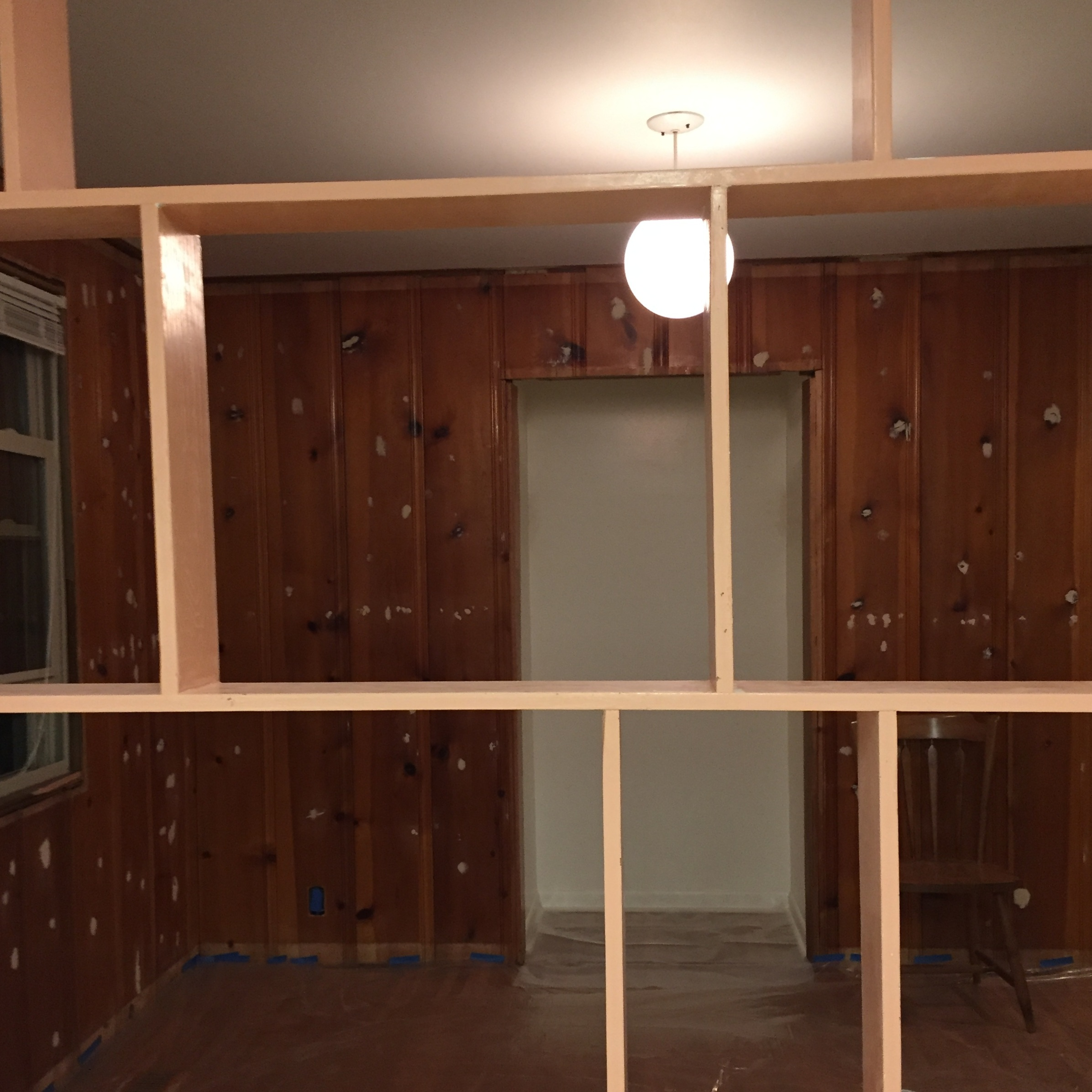 After removing the closet framing and patching holes.