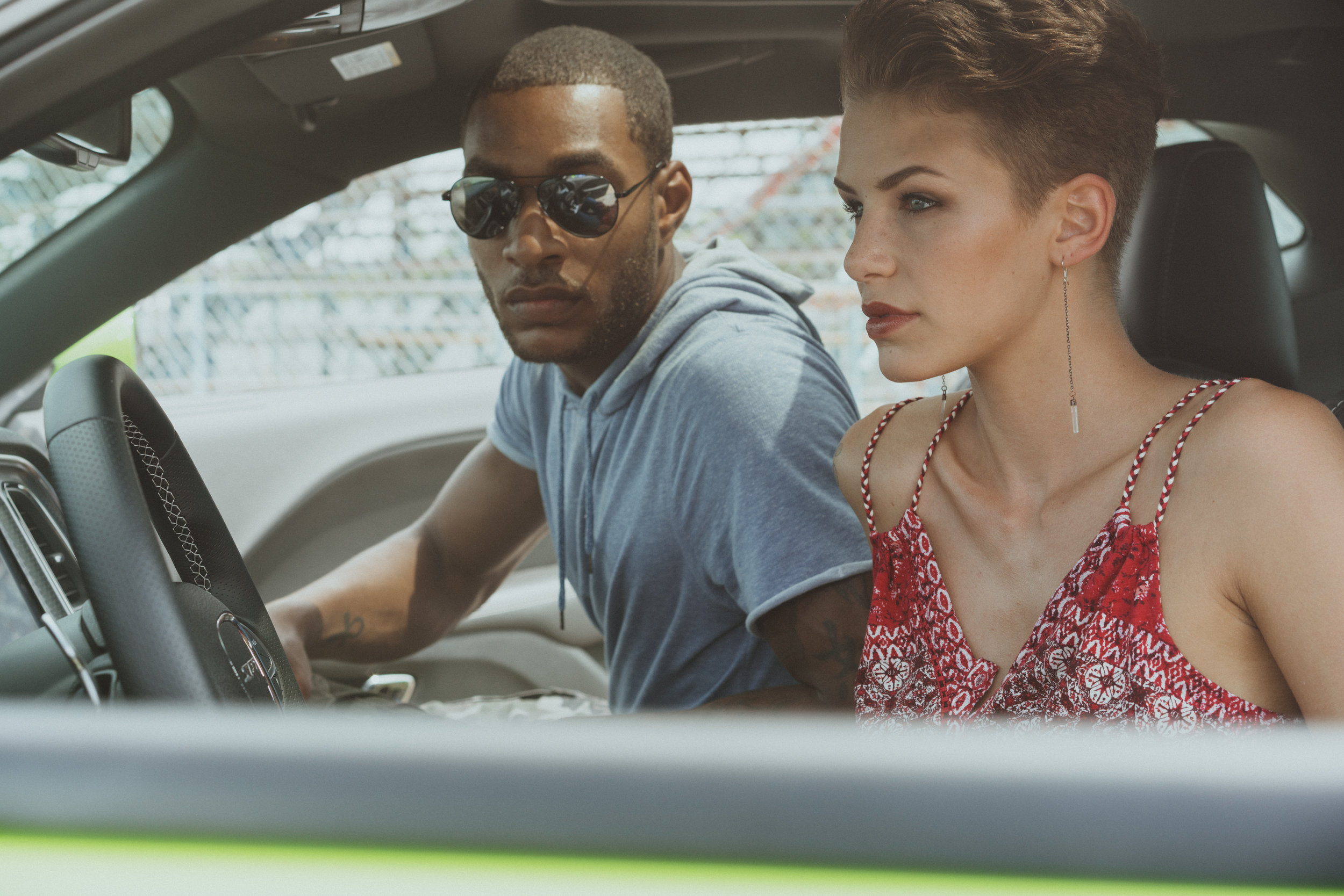 jasmine & Veon green car, red scarf top_CHALLENGER_SRT_HELLCAT_GREEN_INTERIOR_DSC9771.jpg