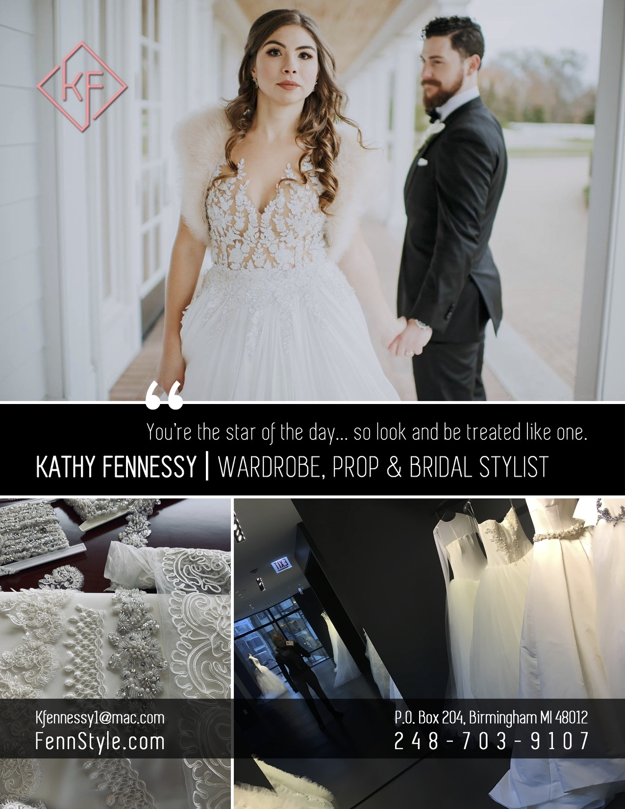 PERSONAL STYLING/BRIDAL WARDROBE CONSULTANT  The WEDDING day is a great fashion moment. We help those brides find that perfect dress & help those grooms sport the perfect cohesive suit or tux to look and feel like a celebrity couple. I can also offer to work with your photographer to help make each photo/video look flawless on the big day with an On-site Stylist to assist. Onsite services also include Steaming dresses, suits, veil, pin, sew, tape & hem if necessary and deals with any other wardrobe needs to make everyone feel comfortable.  PERSONAL STYLING/SHOPPING or just fashion advice?....I love outfit creation to make you look and feel amazing for work, special event, or for your everyday lifestyle.