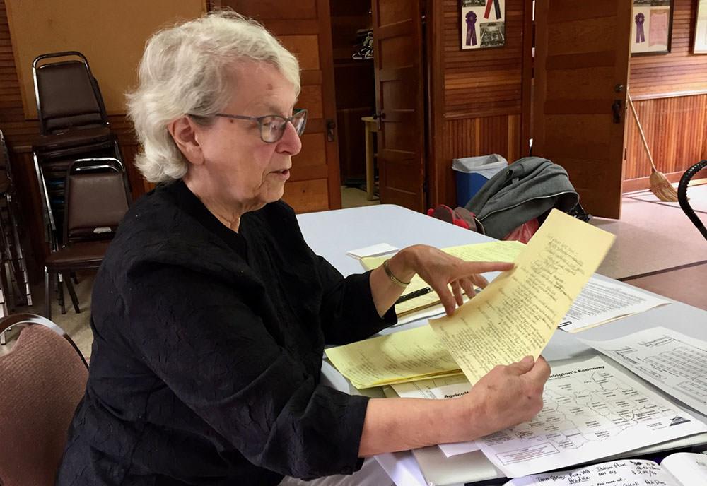 Diane Johnson sharing some of her Grange history notes.