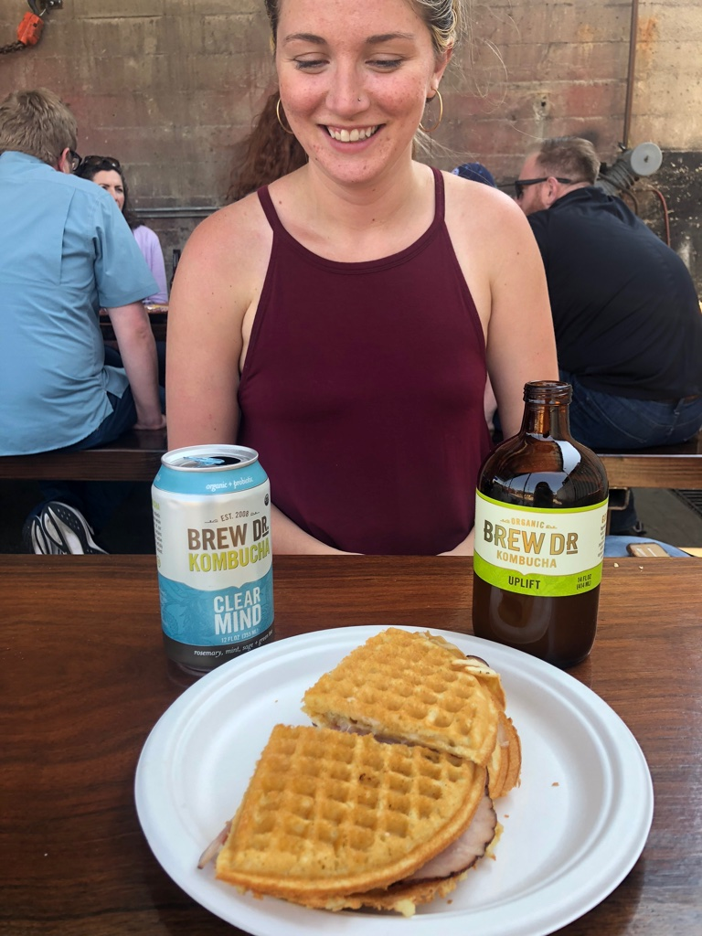 Food cart pod waffle sandwich with my favorite Brew Dr to wash it down