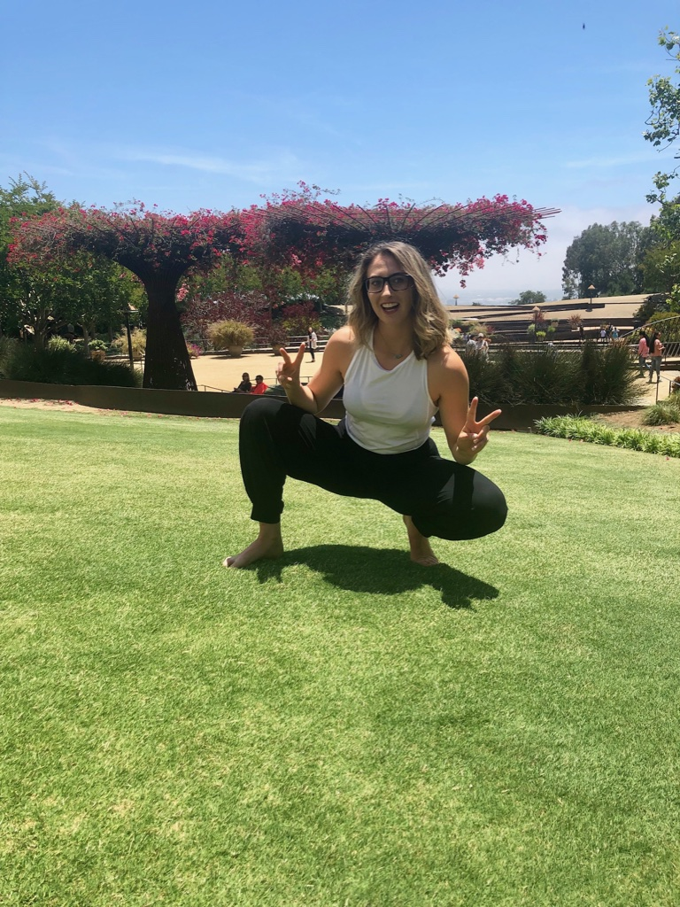 Walked around the gardens and found Katie doing yoga on the green
