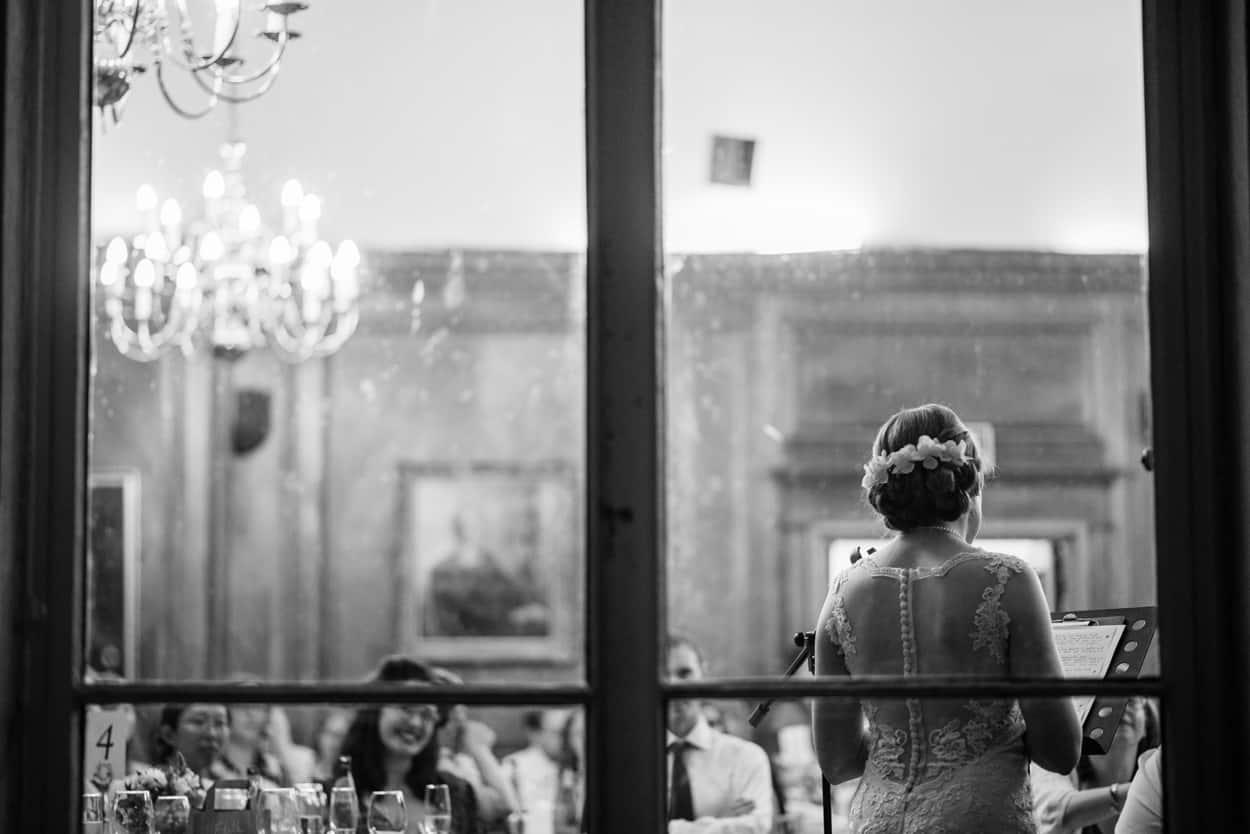 Bride delivers wedding speech at Roehampton House London