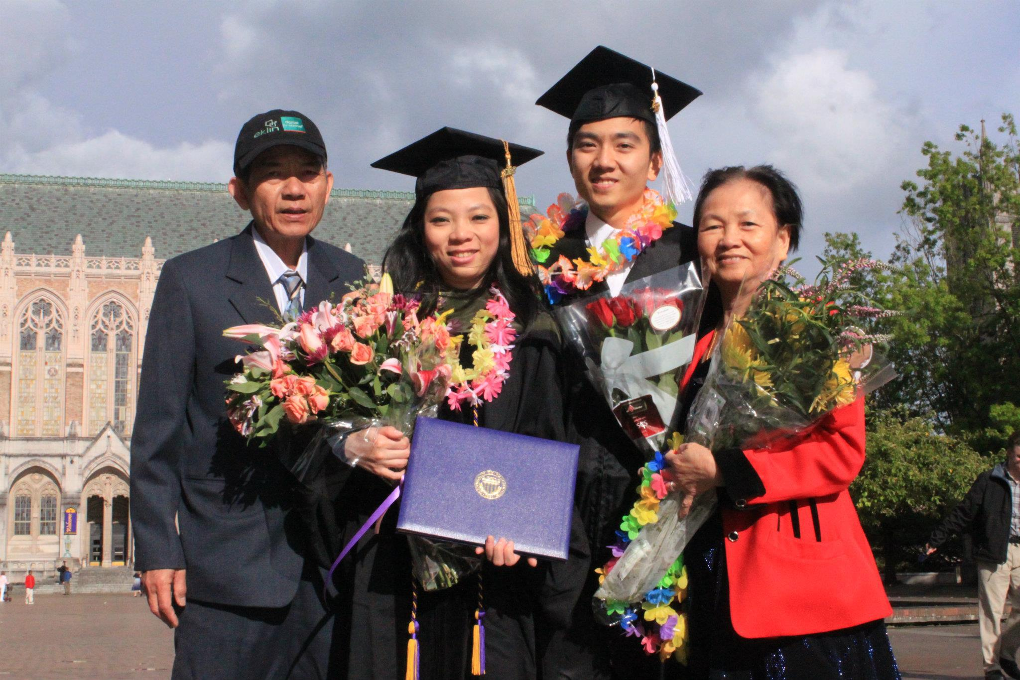 Both Bruce and his sister graduated college in 2012