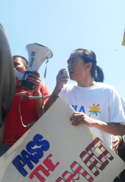 Bruce participating in a DREAM Act rally
