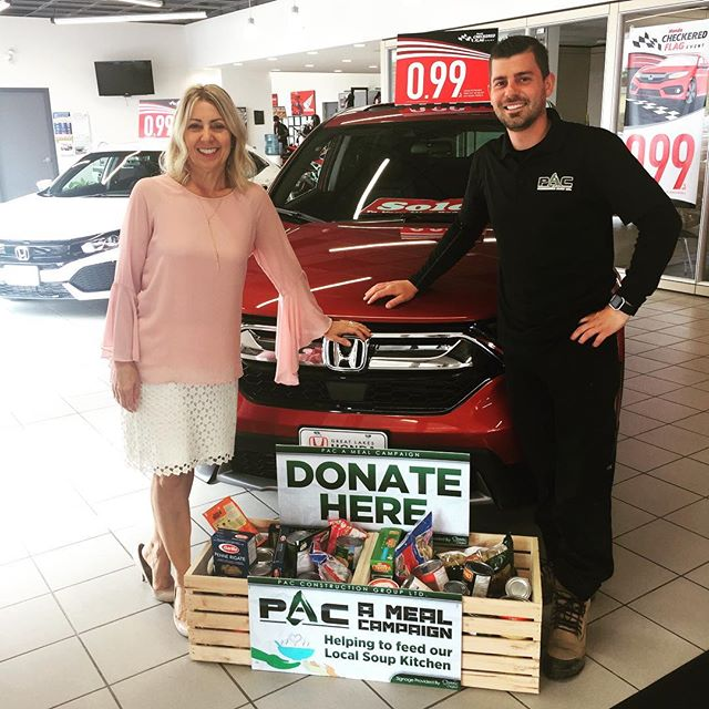"""Dealer Principal Francine Floreani And Great Lakes Honda Team Participating In The """"PAC A Meal"""" Campaign."""
