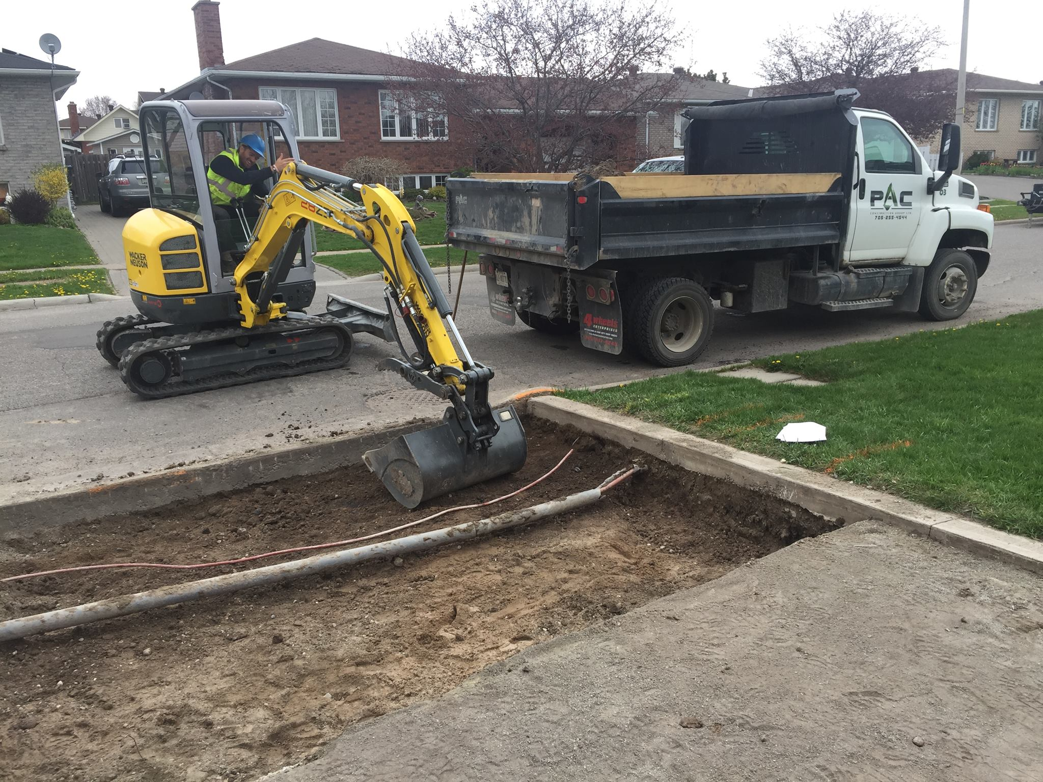 Driveway Excavation - Power and Cable Exposed