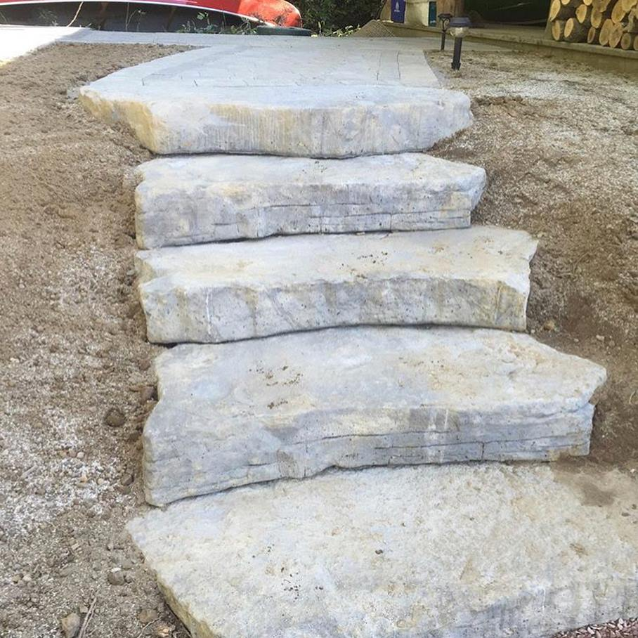 Dimensional Random 4ft Steps Leading To An Outdoor Dinning Patio