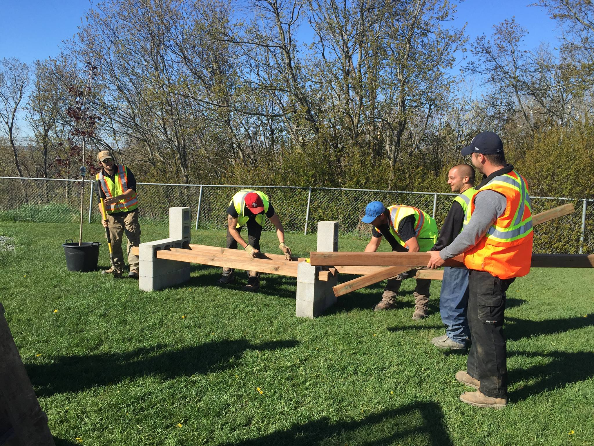 """Donating Our Time To Install """"Buddy Benches"""" At Isabel Fletcher Public School"""
