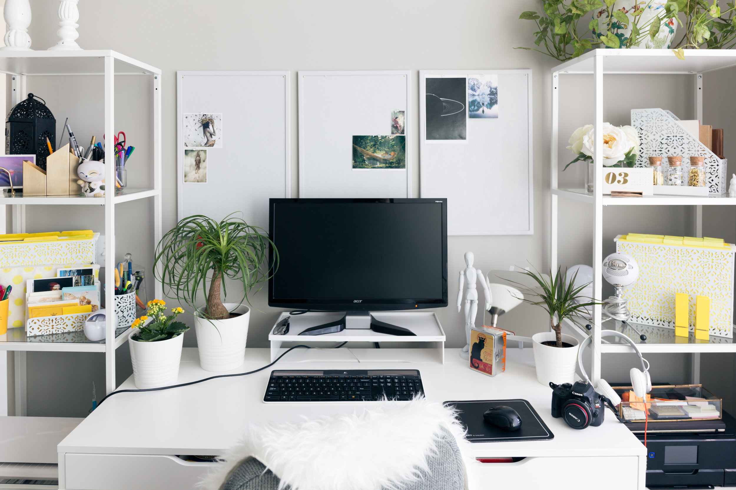 Invest in office organizers, such as, shelving, file cabinets, and desk organizers to make it your best work day ever!