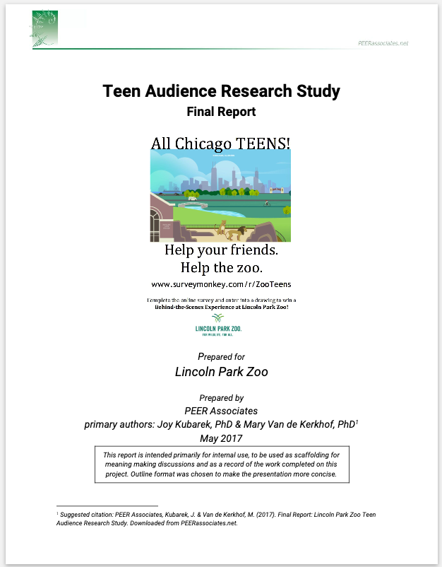 Lincoln Park Zoo - Conducted participatory audience research to understand the needs and interests of non-Zoo attending teens in Chicago