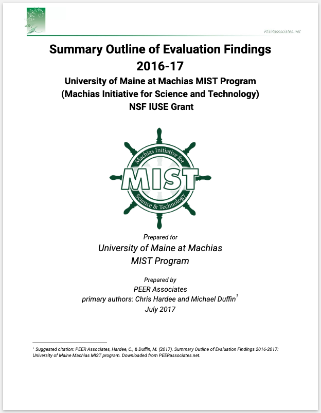 University of Maine, Machias - Evaluated a two-year NSF-funded project to increase STEM retention between freshman and sophomore years