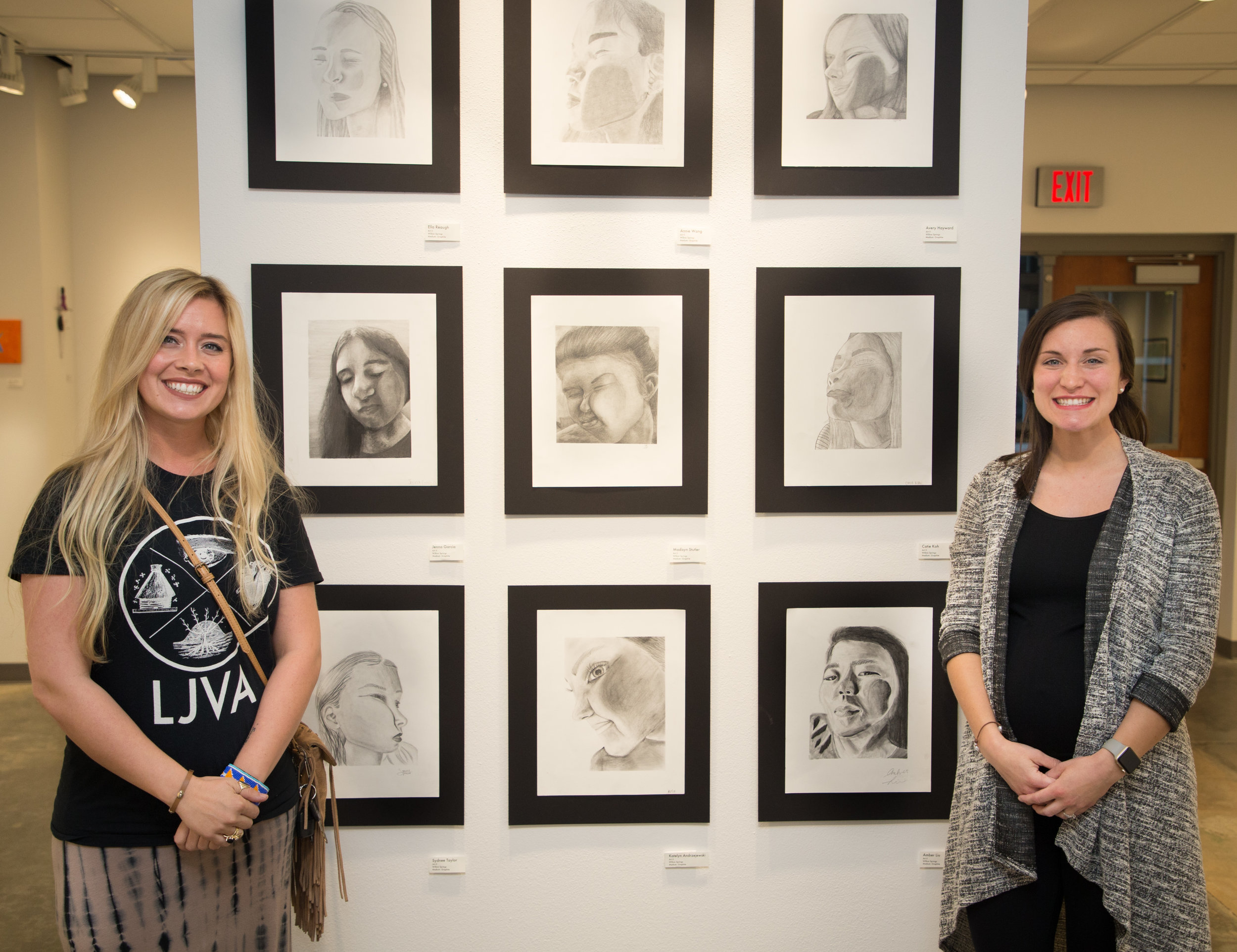 2- WSMS Art teacher Jenny Slaver (left) and SCIS Art teacher (right) greeted visitors at opening night of the art show.jpg