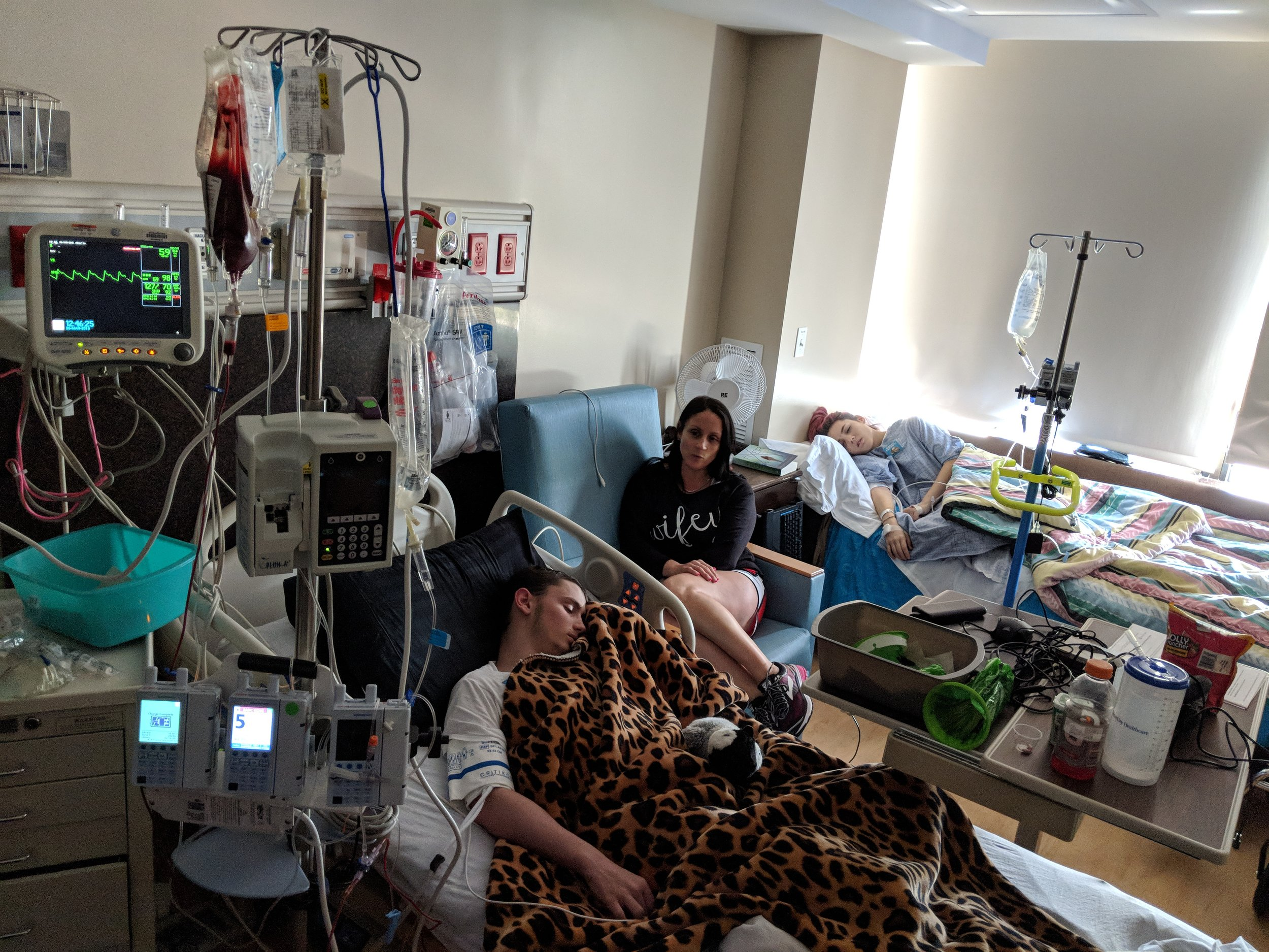 Austin, Haley and their mother, Suzanne Bennett during the transplant. (Photo provided by Kyle Bennett.)