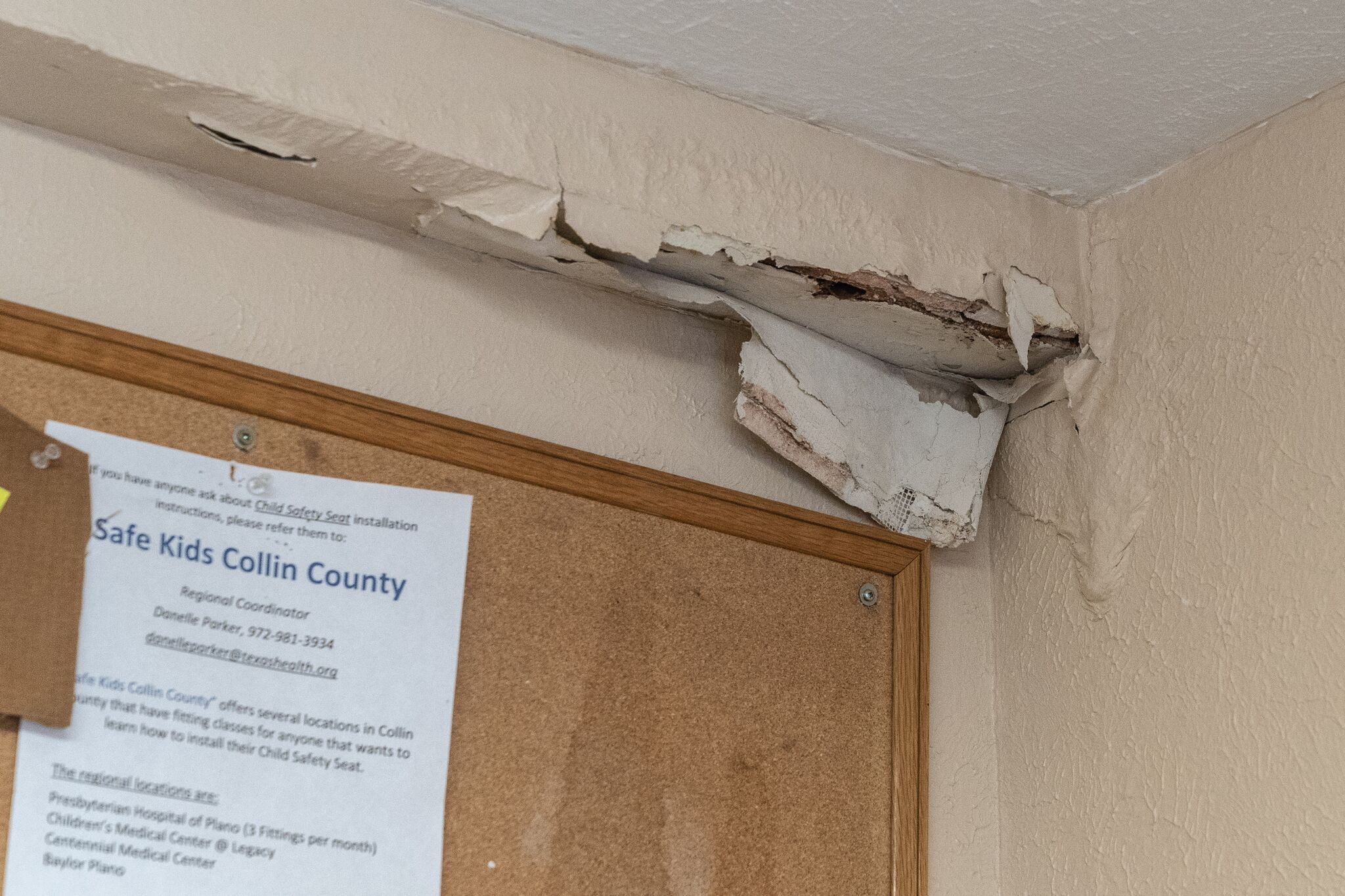 Water leaks have damaged many interior walls.