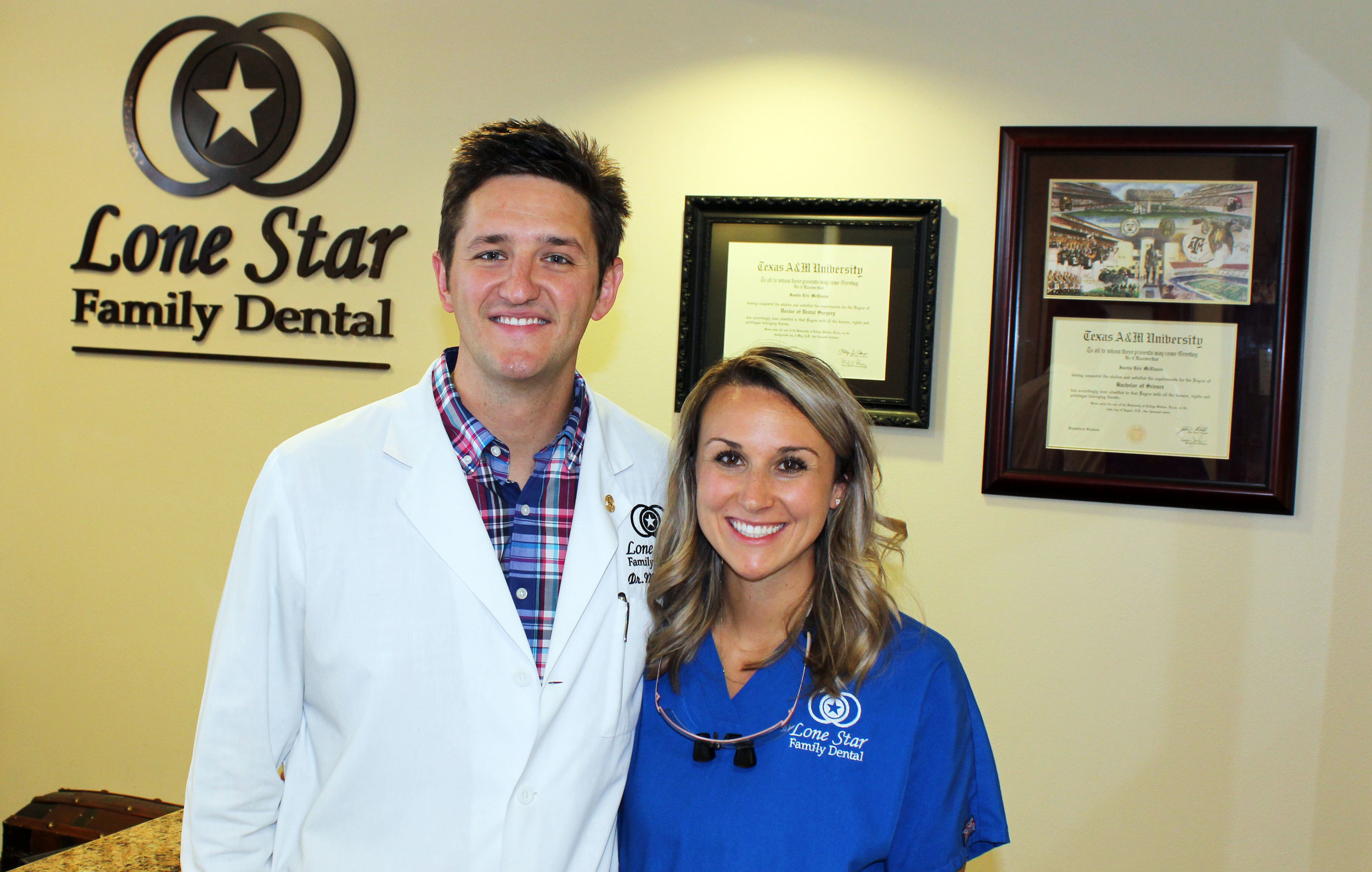 Dr. Justin McElvain and his wife Paige. Paige is one of two dental hygienists at Lone Star Family Dental.