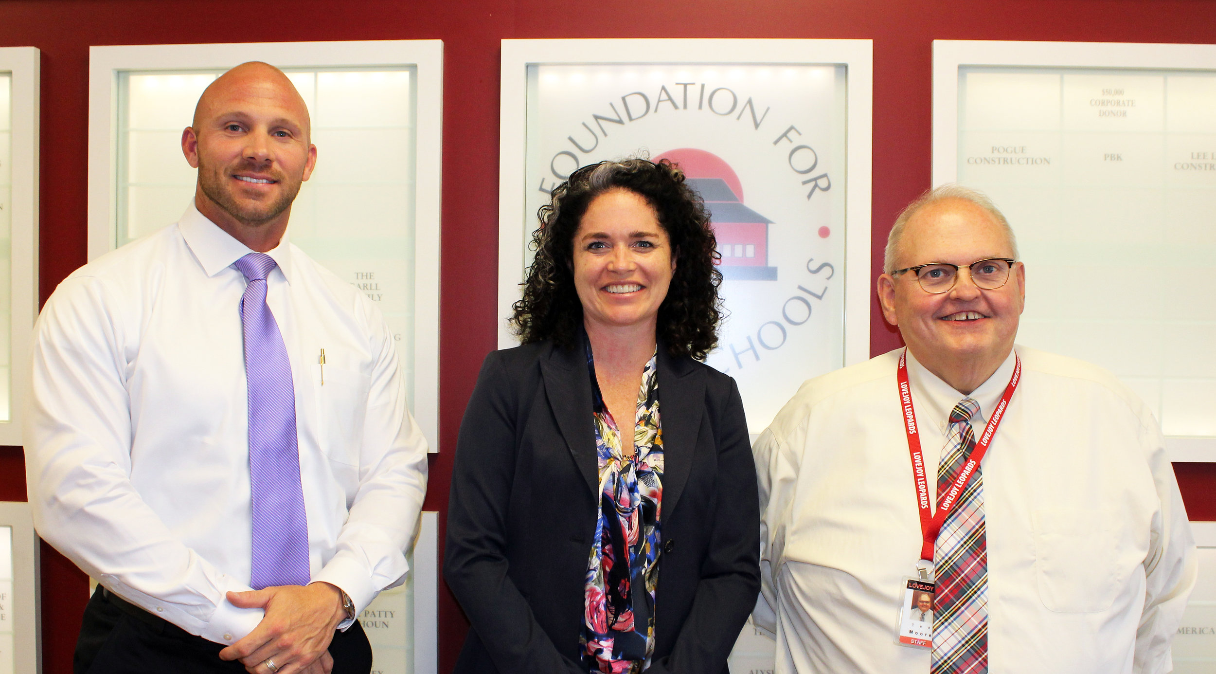 (Left to right) Dan Buholtz, Lovejoy ISD Directory of Safety and Security, Vanessa Ogle, Lovejoy parent and founder of Enseo and Ted Moore, Lovejoy ISD Superintendent.