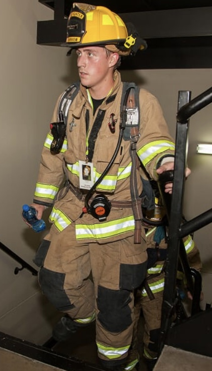 Fairview Firefighter/EMT Austin Smotherman, during the Dallas Stair Climb. (Photo provided by Fairview FD.)