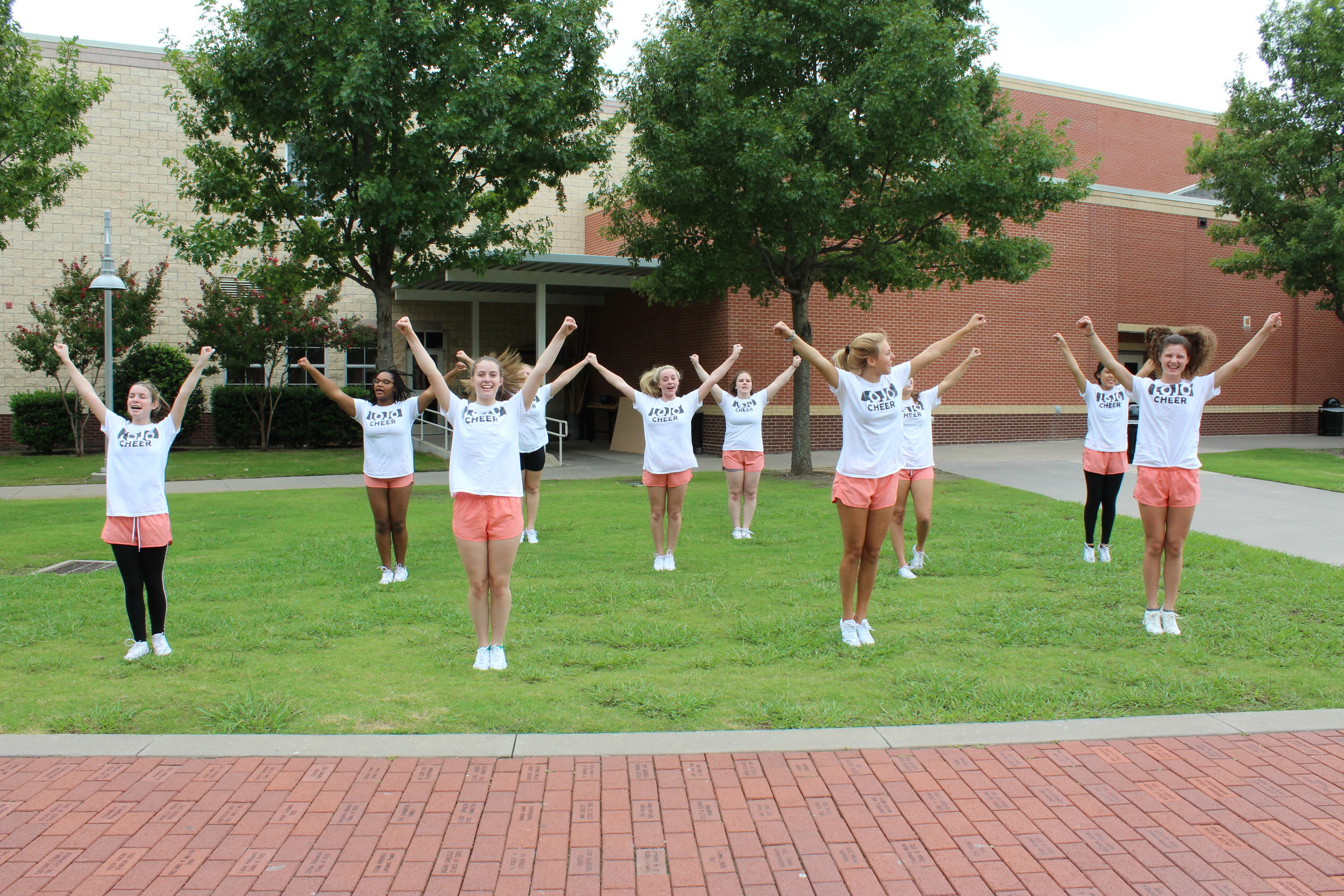Members of the junior varsity cheerleaders during practice.