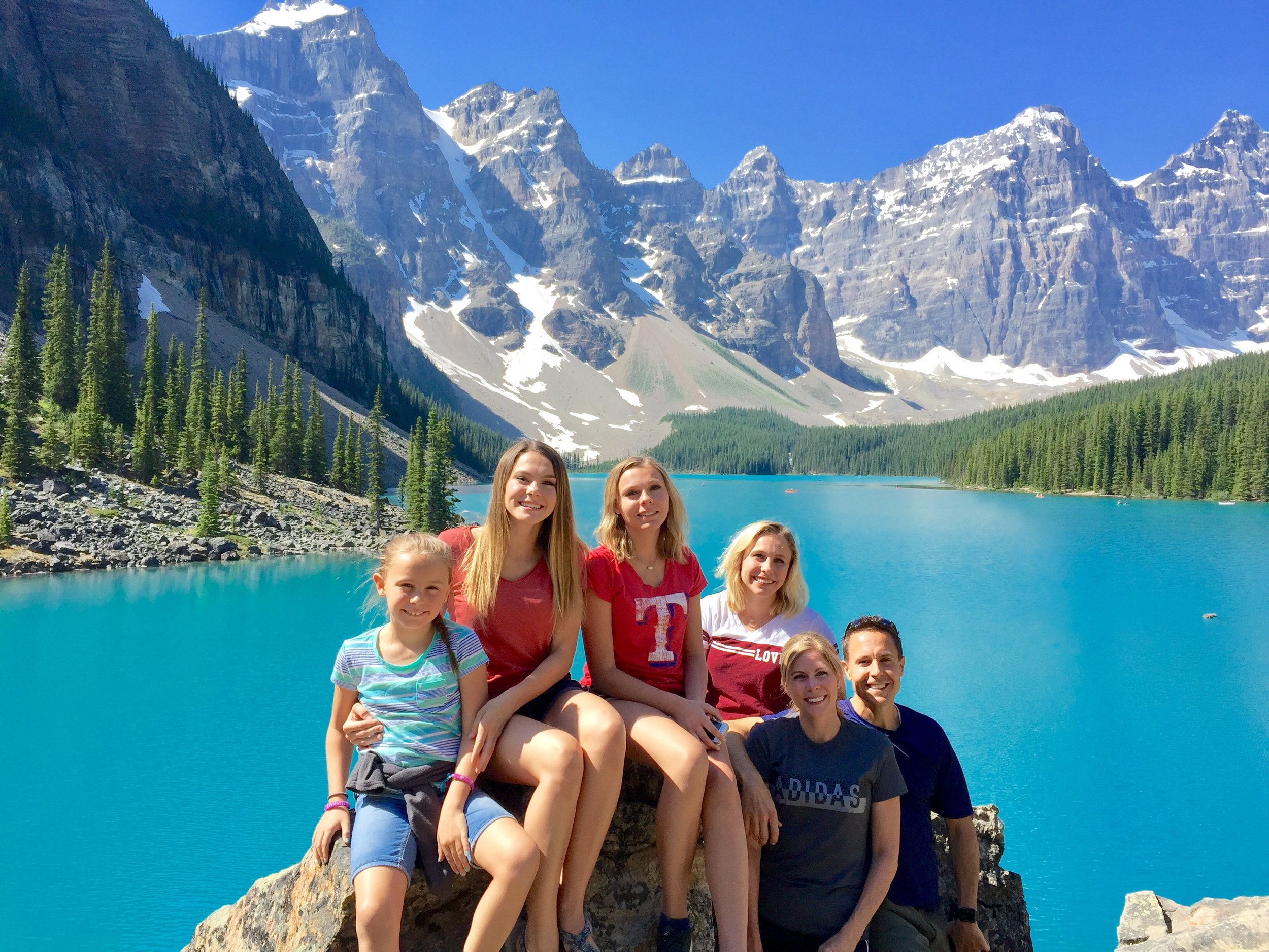 The Brooks family has lived in Fairview for four years. (from left) 'Sophie, Eleise, Colette, Noelle, Staci and Dain Brooks (Photo taken at Banff National Park, Canada).