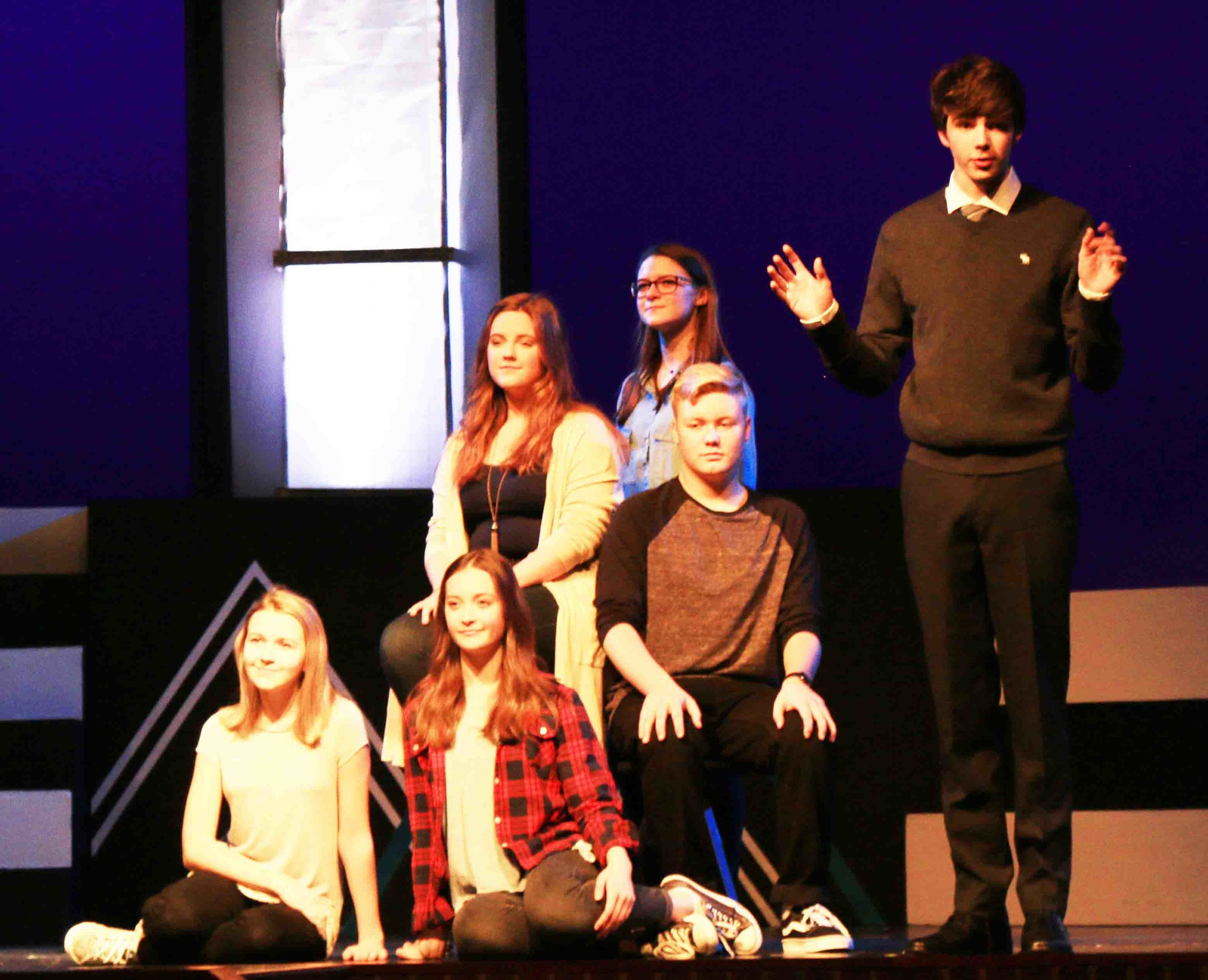 "(From left) Grace Felton, Natalie Edwards, Maddie Konecny, Zane Dodd, Julia Dobbs and Luke Wild - ""Family Portrait"" a father contemplates his family relationships and how he affects them."