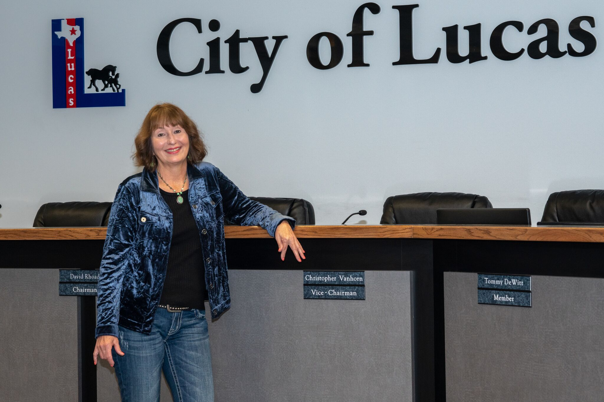 : Joni Clarke, City Manager of Lucas since 2014, in Council Chambers.