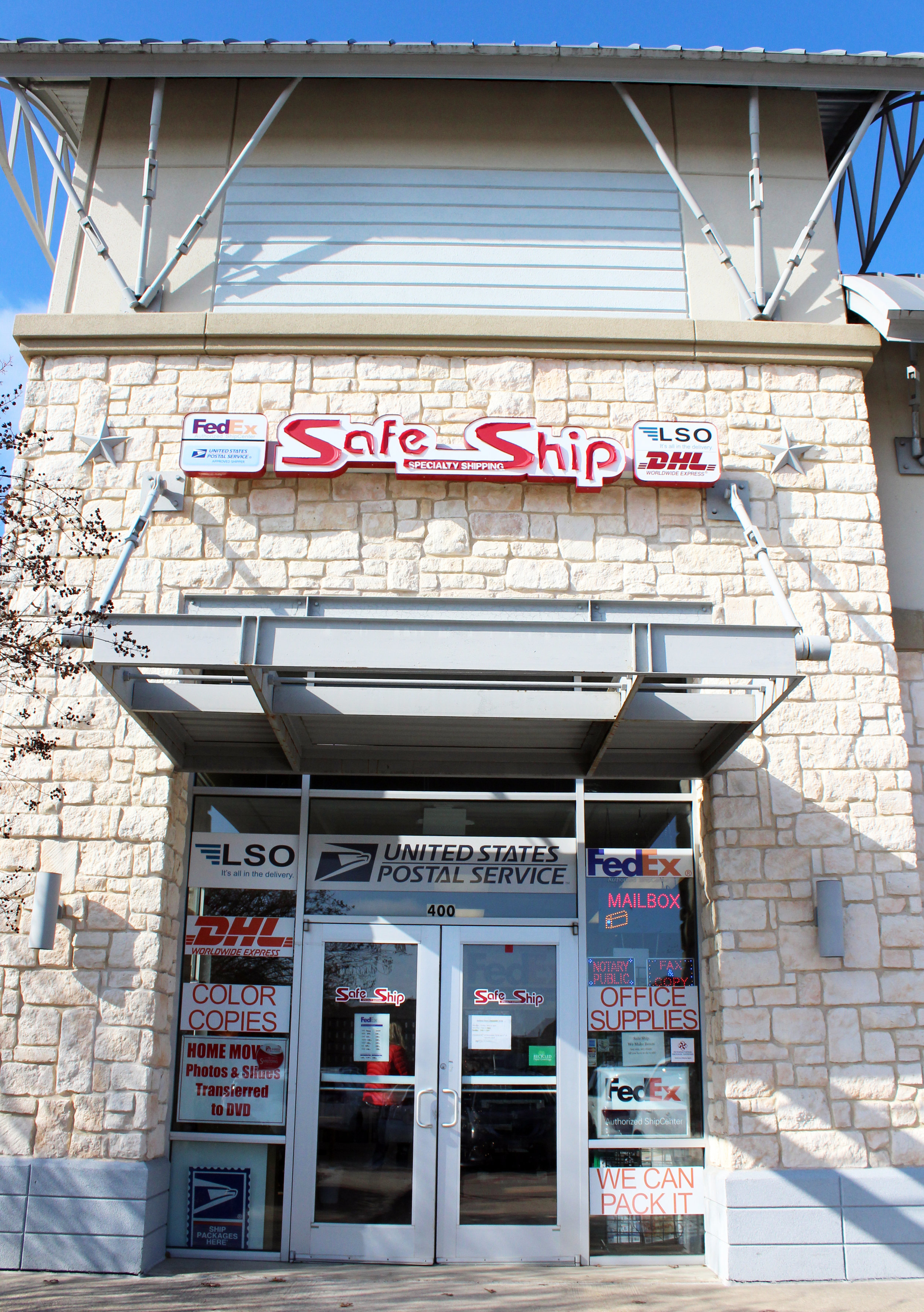 Safe Ship is located at 1719 Angel Pkwy., Suite 400 in Allen at the corner of Angel Pkwy. and Stacy Rd.