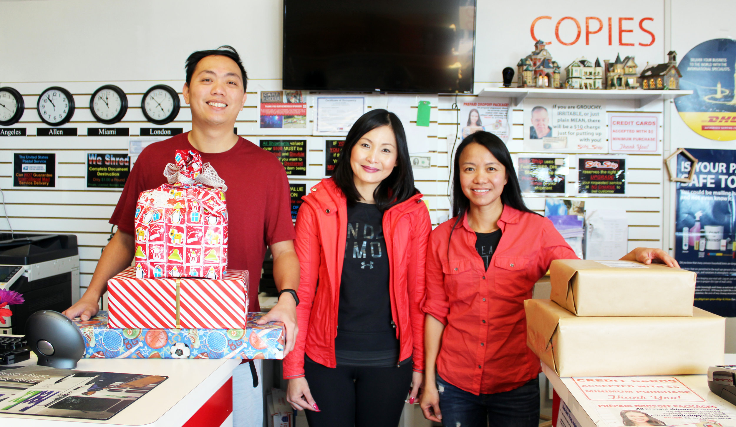 Safe Ship is your one-stop-shop for your shipping and packing needs. (From left) Lionel Wan, Laura Lim and Maggie Ip.