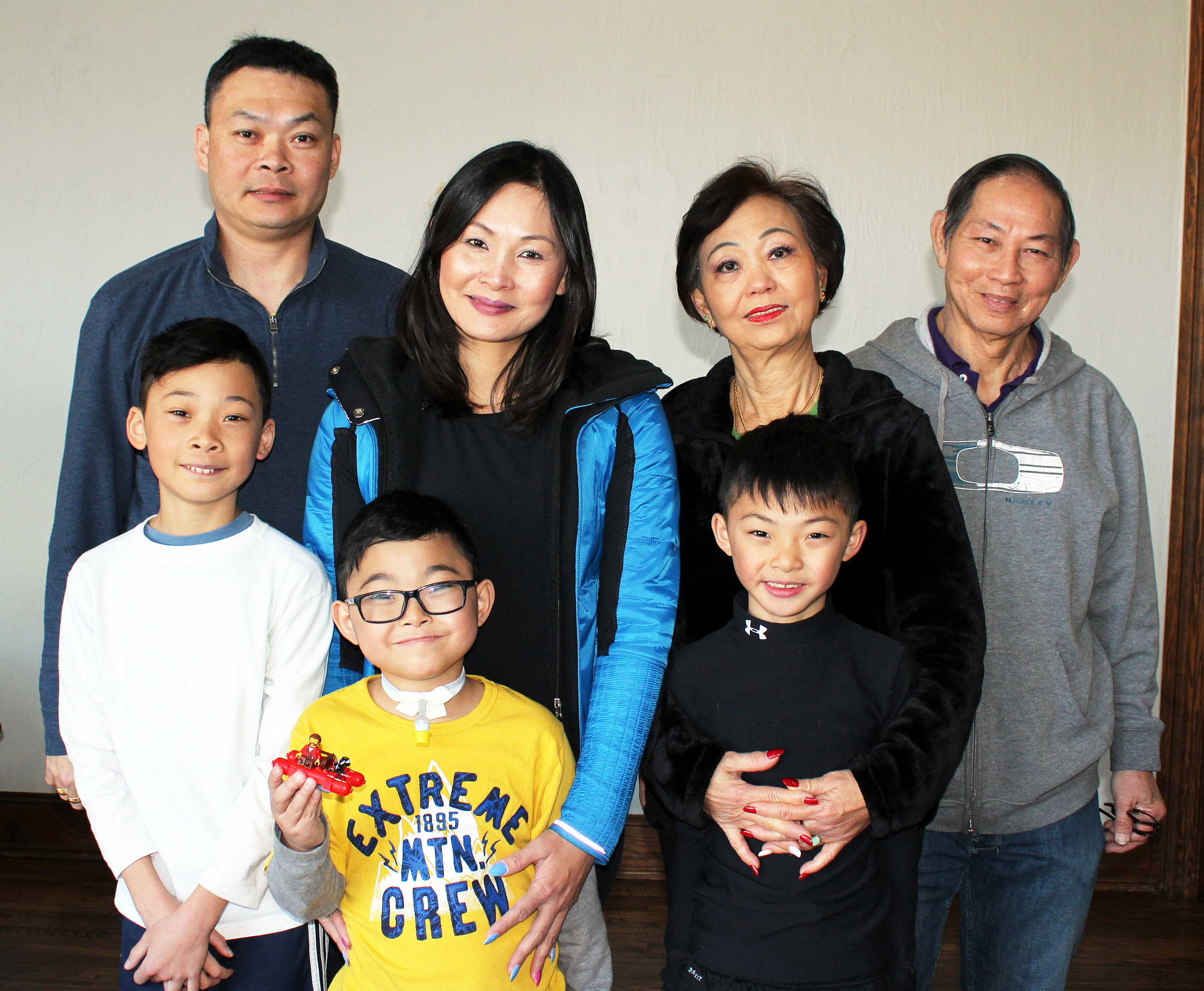 The Lim Family has lived in Fairview since 2016. (Front row, from left) Laynce Lim, 6th grader at Sloan Creek, Laynson Lim, 1st grader at Puster and Laynden Lim, 3rd grader at Puster. (Back row, from left) CJ Lim, Laura Lim with Laura's parents Rose Wan and John Wan.