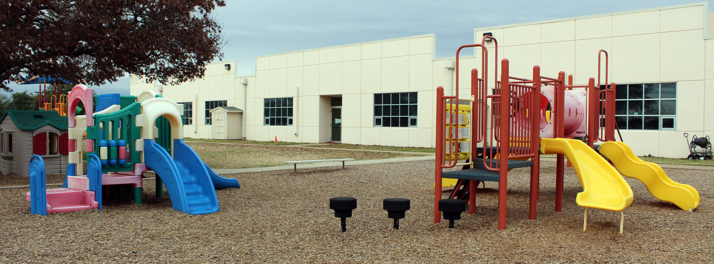 Sunshine & Rainbows Early Learning Center has two playgrounds with age appropriate equipment as well as riding toys.