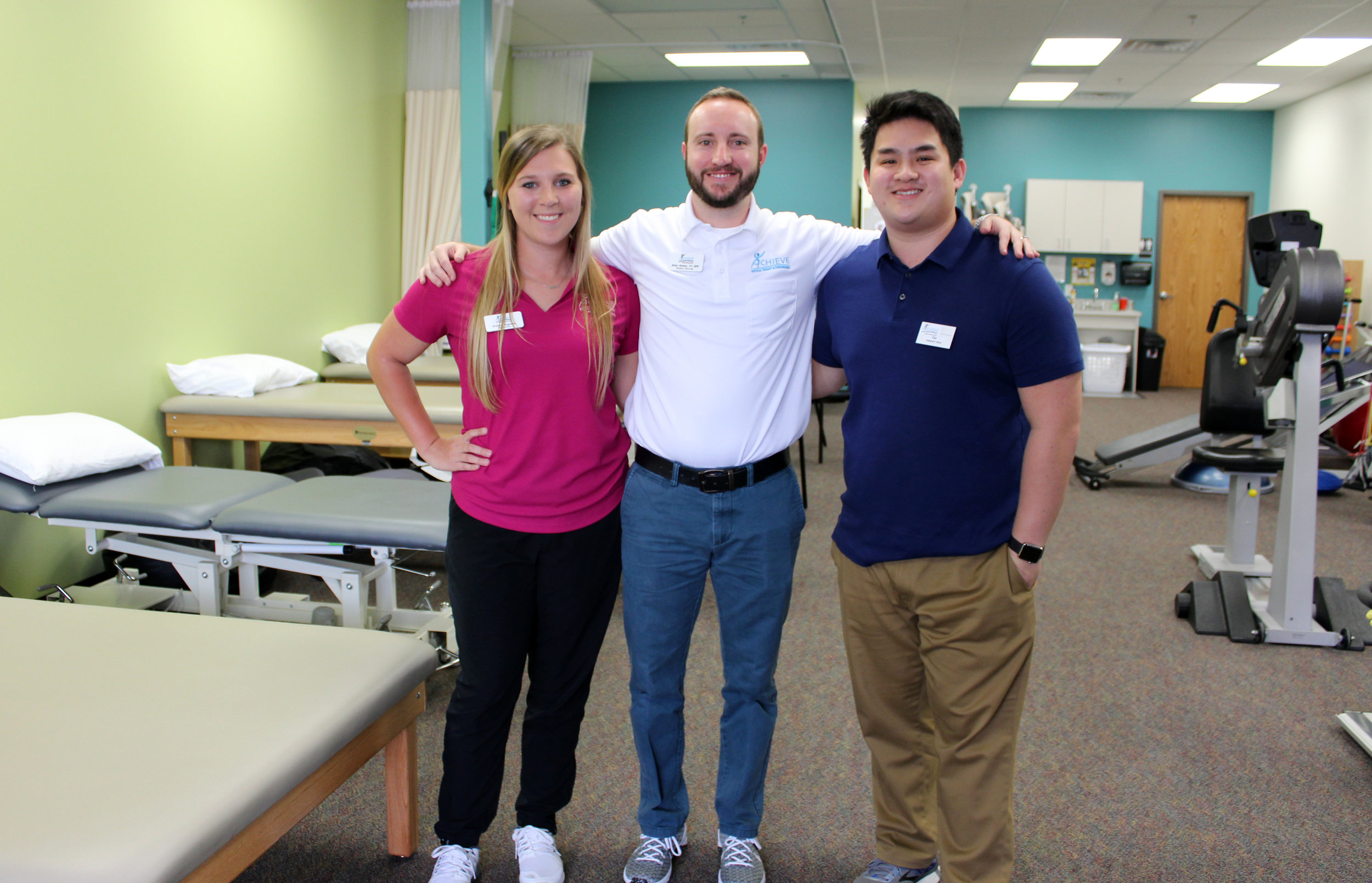 The Achieve staff (from left), Brittney Magnuson, receptionist, Brian Hunter, Clinic Director/Physical Therapist and Tai Nguyen, tech.