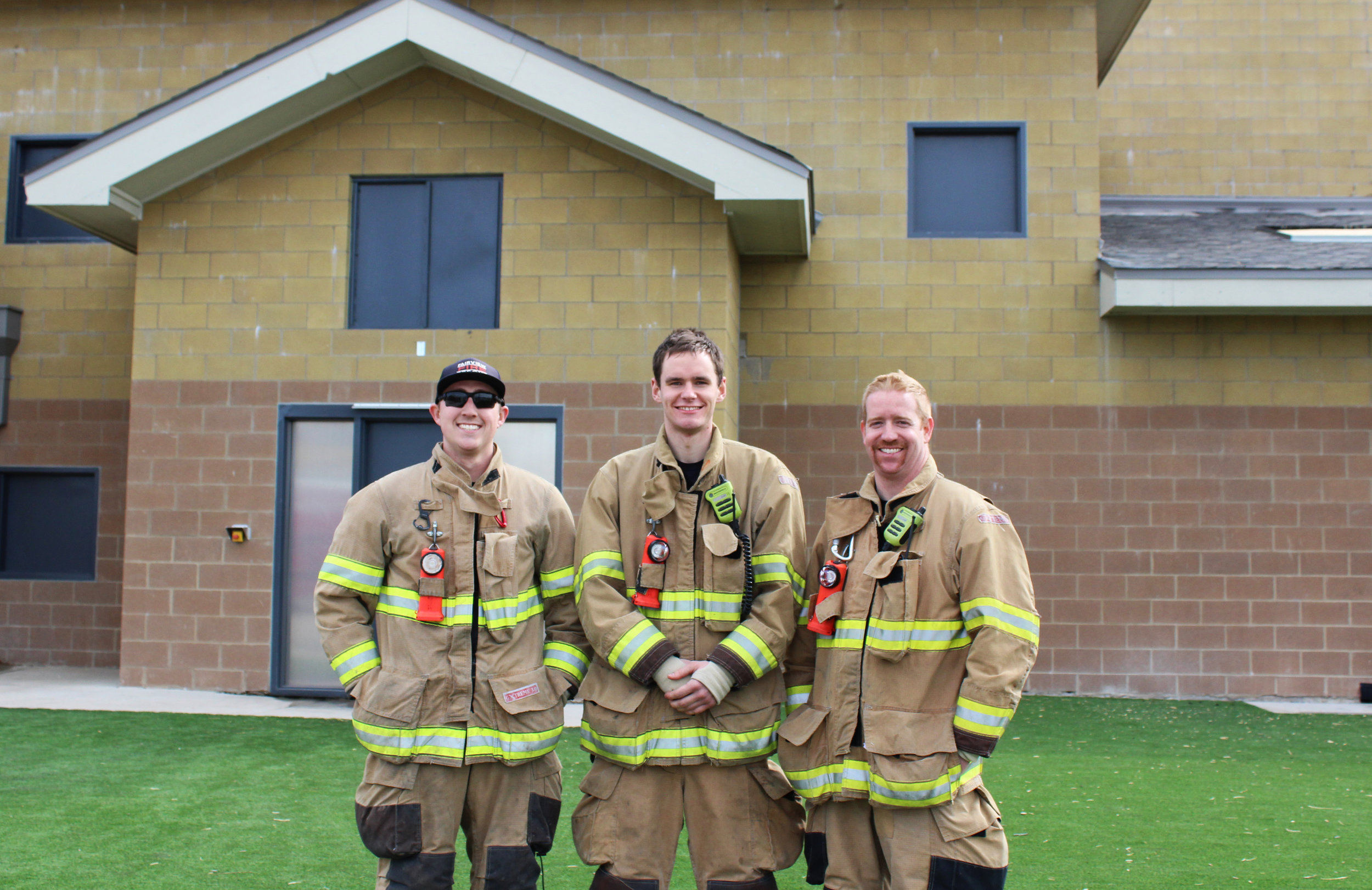 (From left) Step-up driver Austin Smotherman, Firefighter David Feig and Captain Nathan White. These three are assigned to Station One on A-shift.