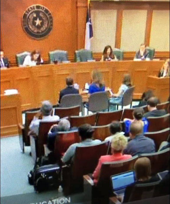 (From left) James, Lisa and Caroline Wilkins during their testimony before the Texas State Representatives.