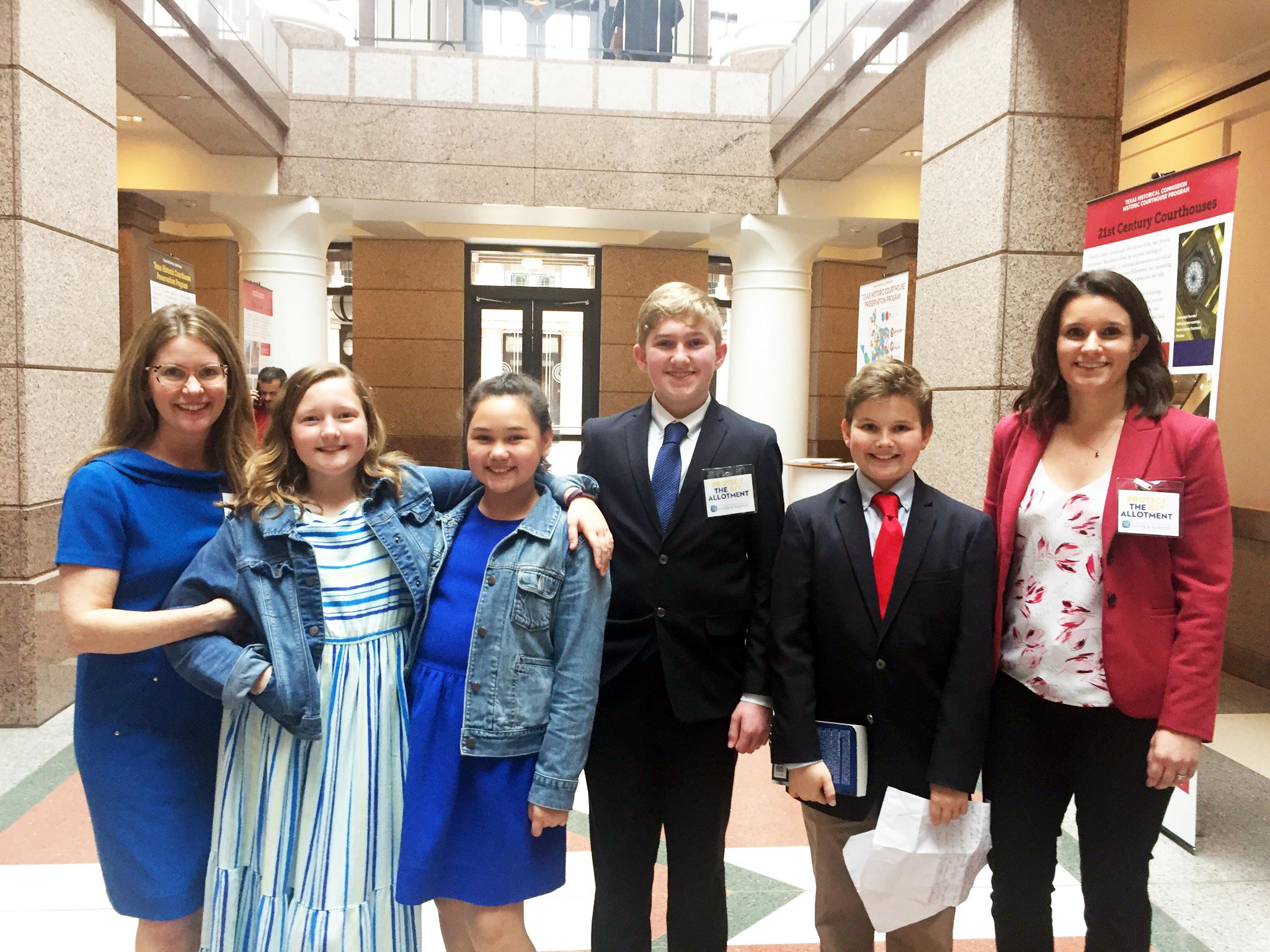 : (From left) Lisa Wilkins, Caroline Wilkins, Effe Sutton, David David, III, James Wilkins and  Paulina van Eeden Hill,  Executive Director of the Texas Association for the Gifted & Talented.