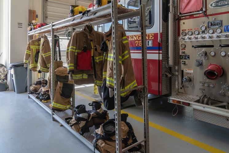 Firefighter's gear is supposed to be protected in a separate space from fumes and sunlight.